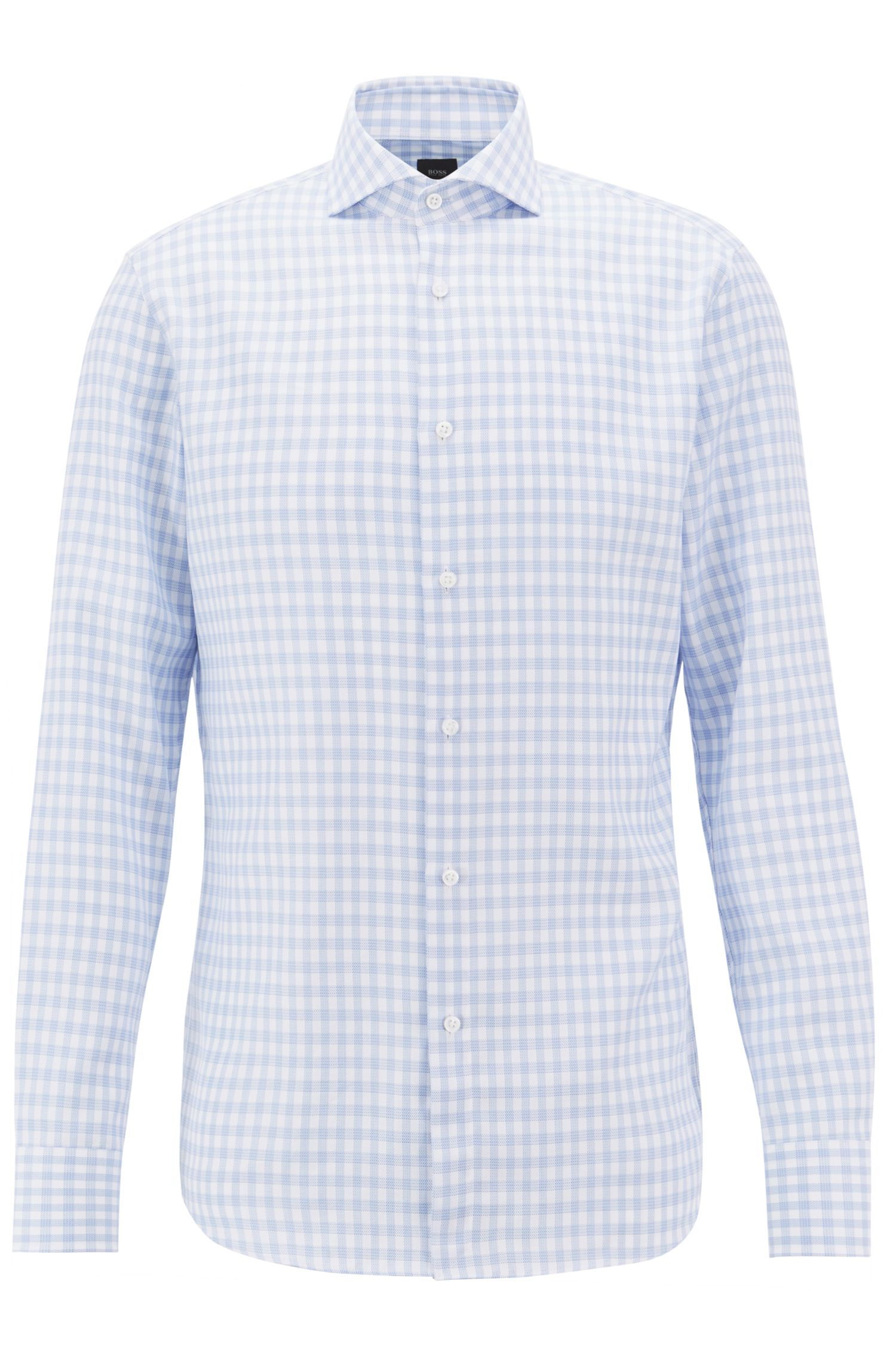 BOSS Tailored slim-fit shirt in Glen-check cotton, Light Blue