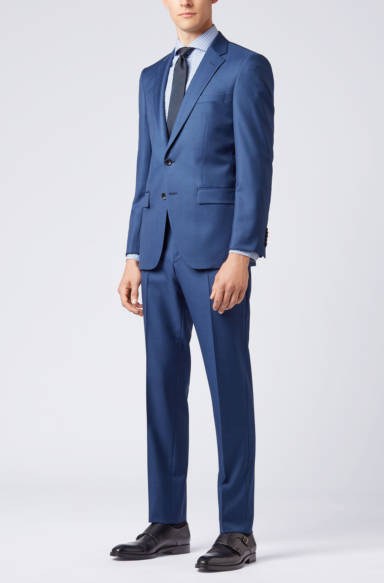 BOSS Tailored slim-fit shirt in Vichy check cotton twill, Blue