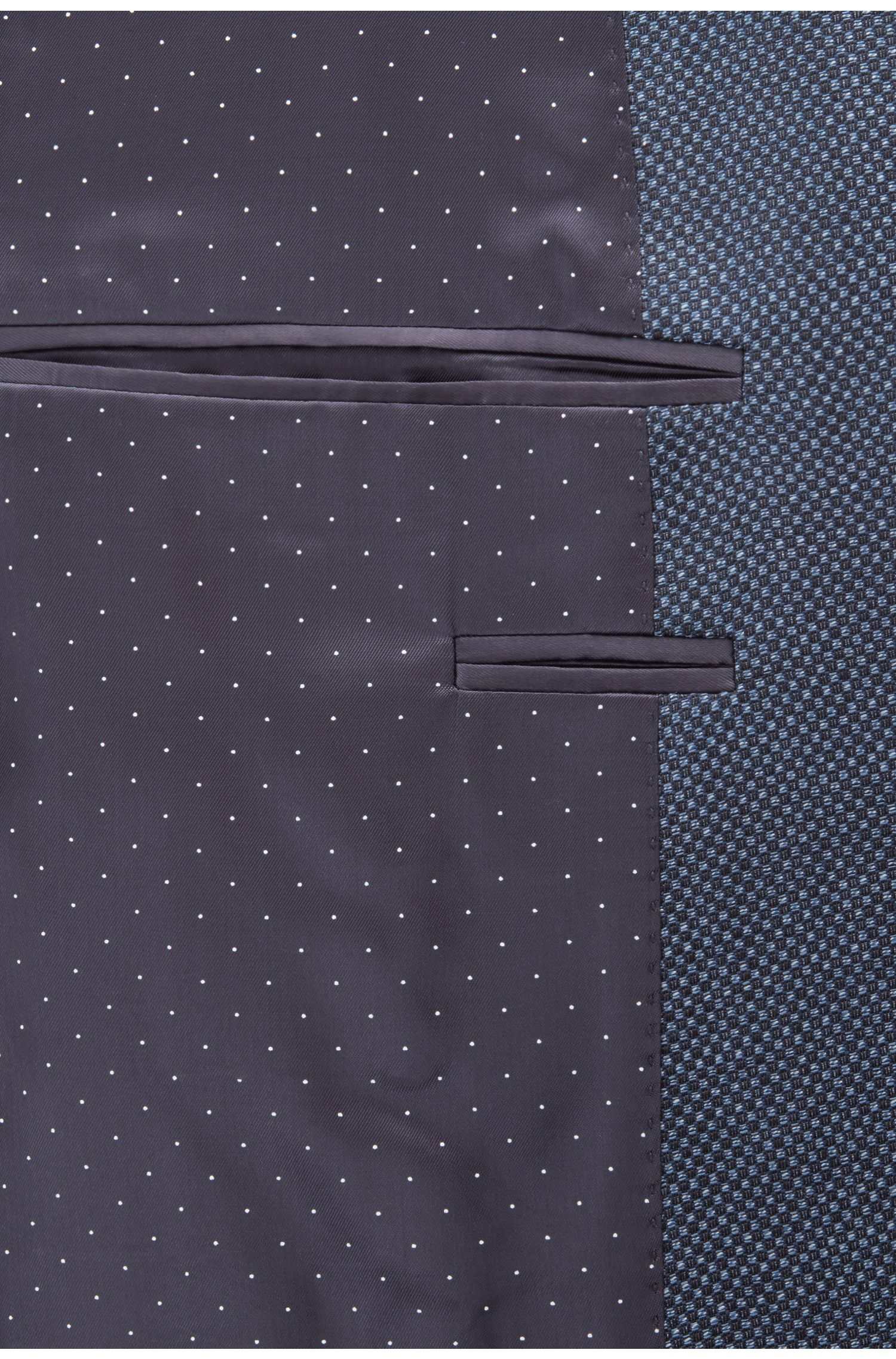 Extra-slim-fit virgin-wool jacket with micro pattern, Open Blue