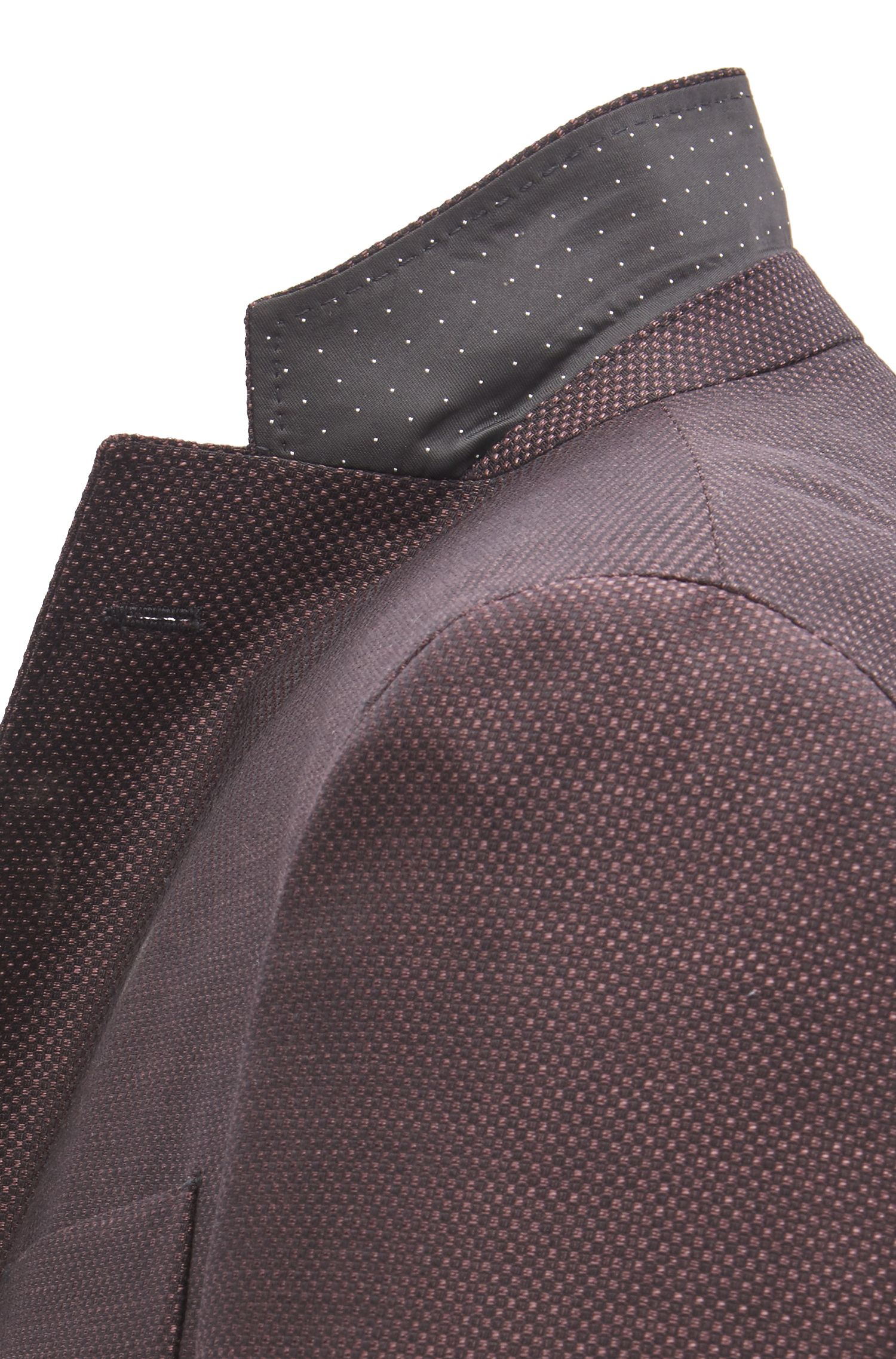 Extra-slim-fit virgin-wool jacket with micro pattern, Dark Purple