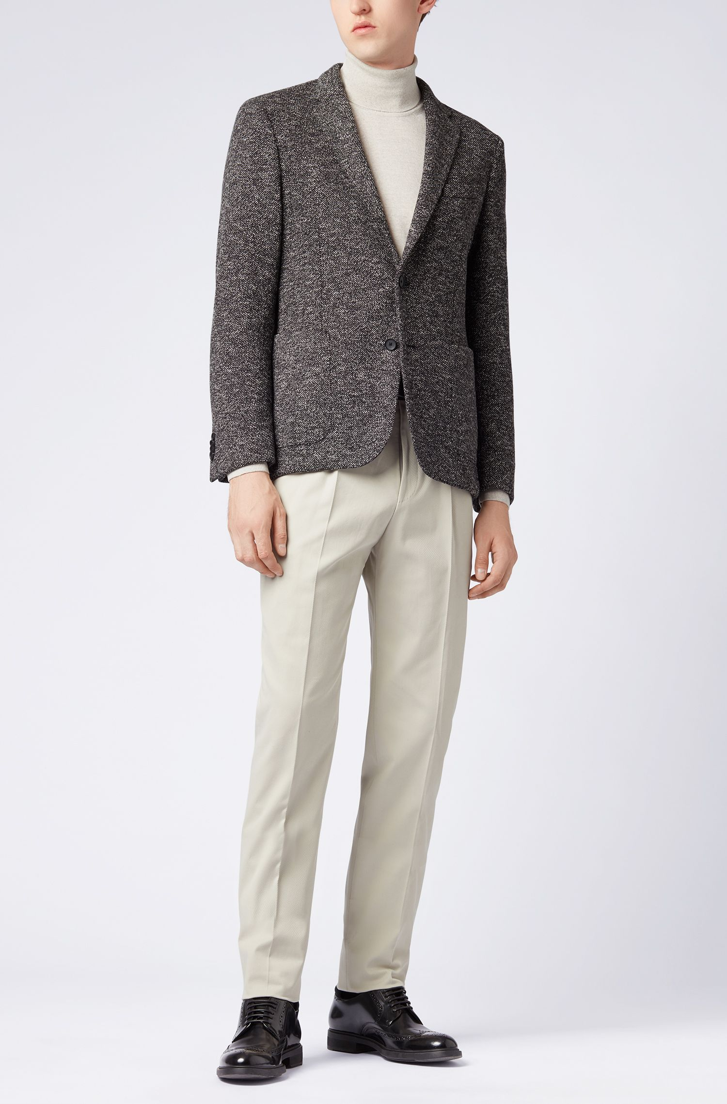 Slim-fit jacket in two-tone fabric, Open Grey