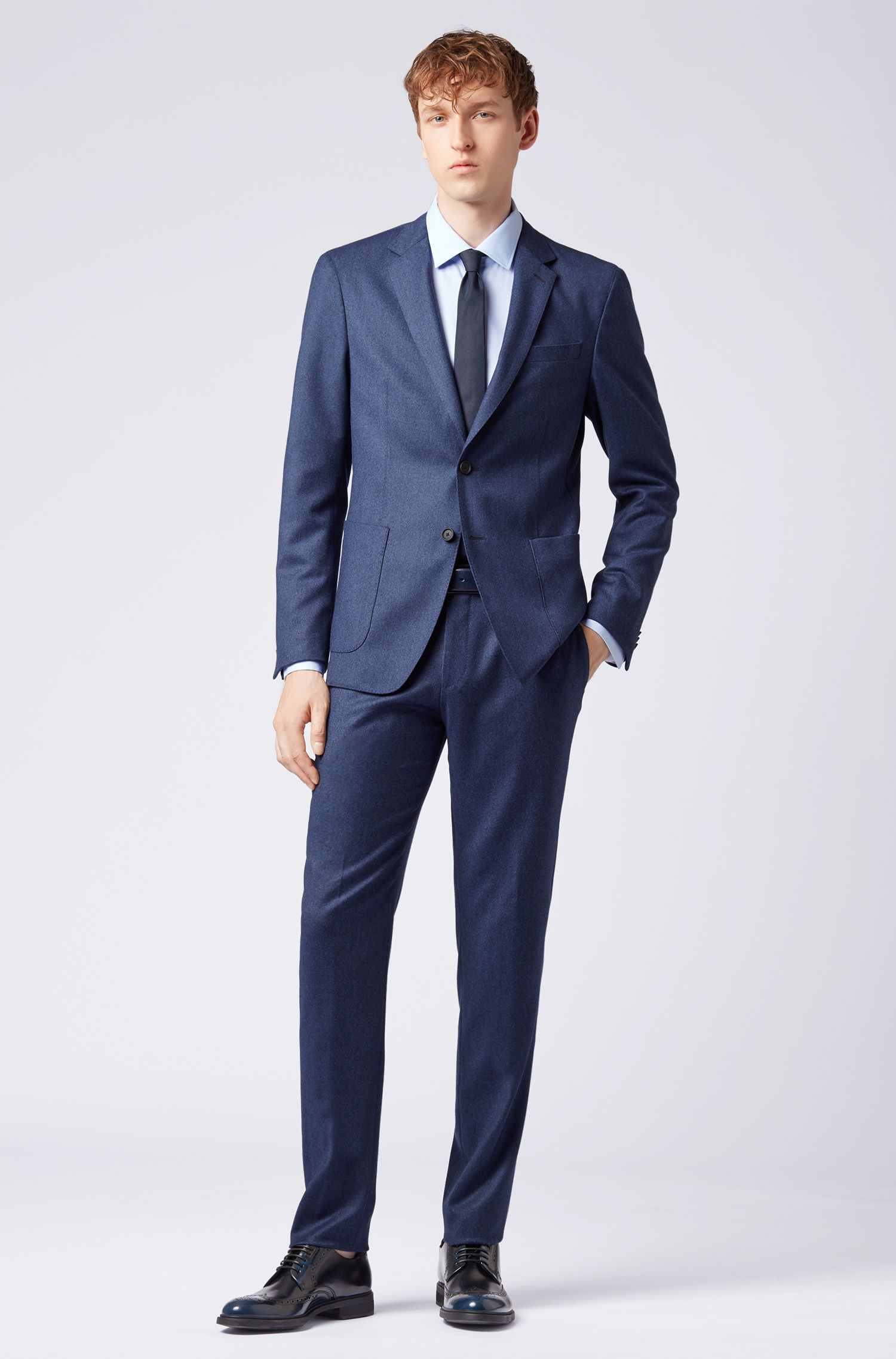 Slim-fit blazer in washable virgin-wool flannel, Dark Blue