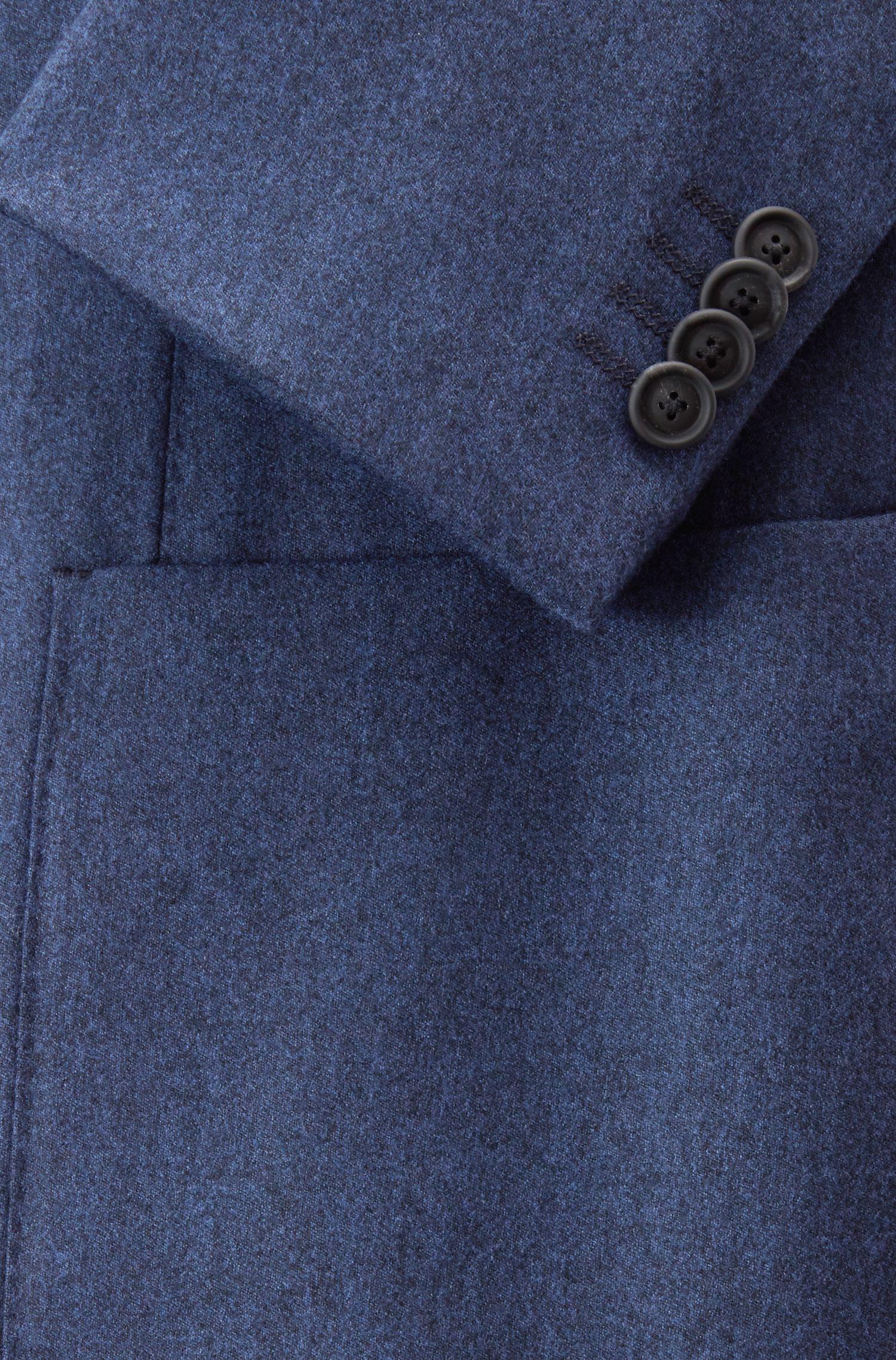 Slim-fit blazer in washable virgin-wool flannel, Dark Blue