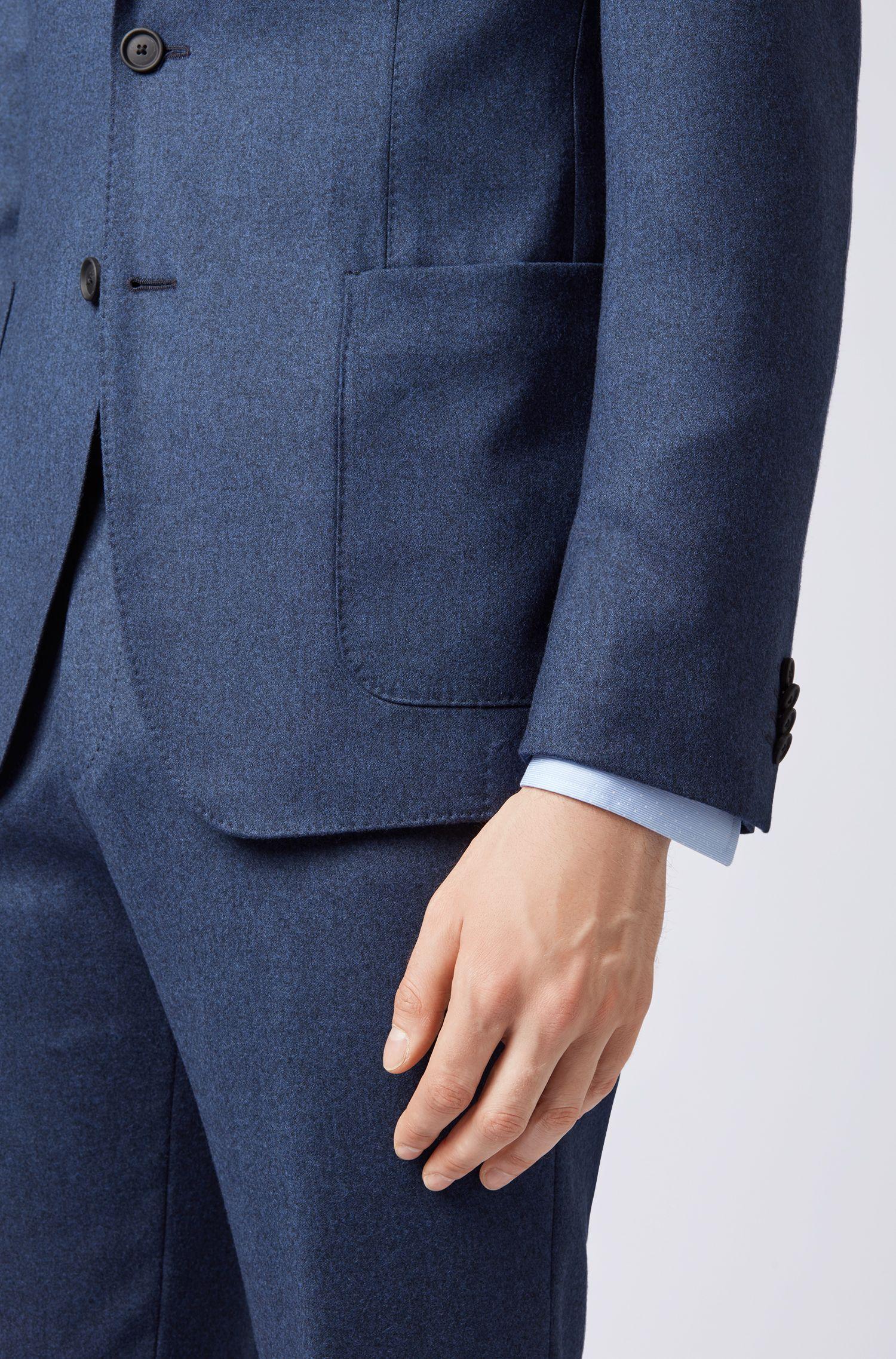 Slim-fit pants in washable virgin-wool flannel, Dark Blue