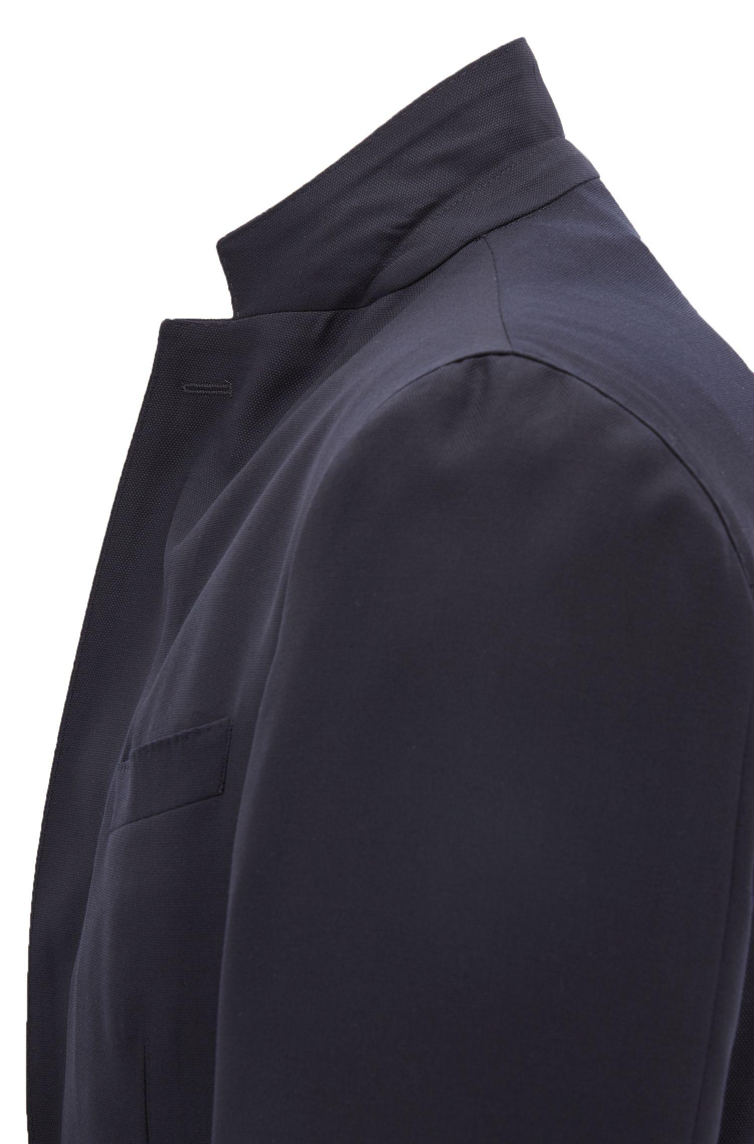 Slim-fit blazer in washable virgin wool, Open Blue
