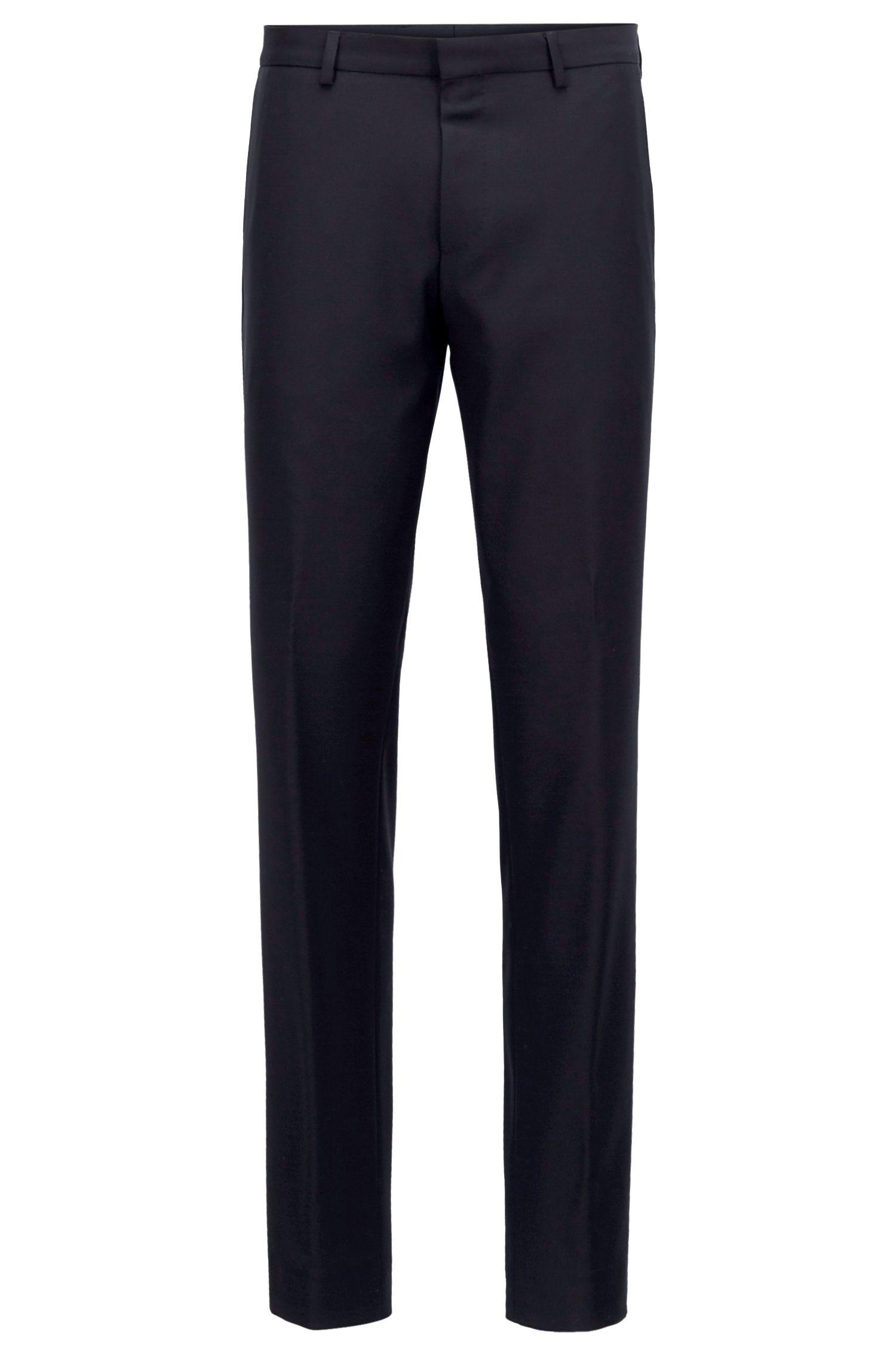 Slim-fit pants in washable virgin wool, Open Blue