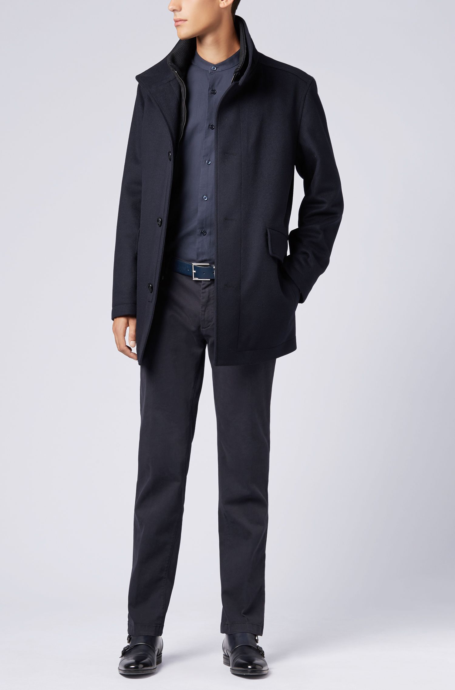 Relaxed-fit shirt in cotton twill with stand collar, Dark Blue