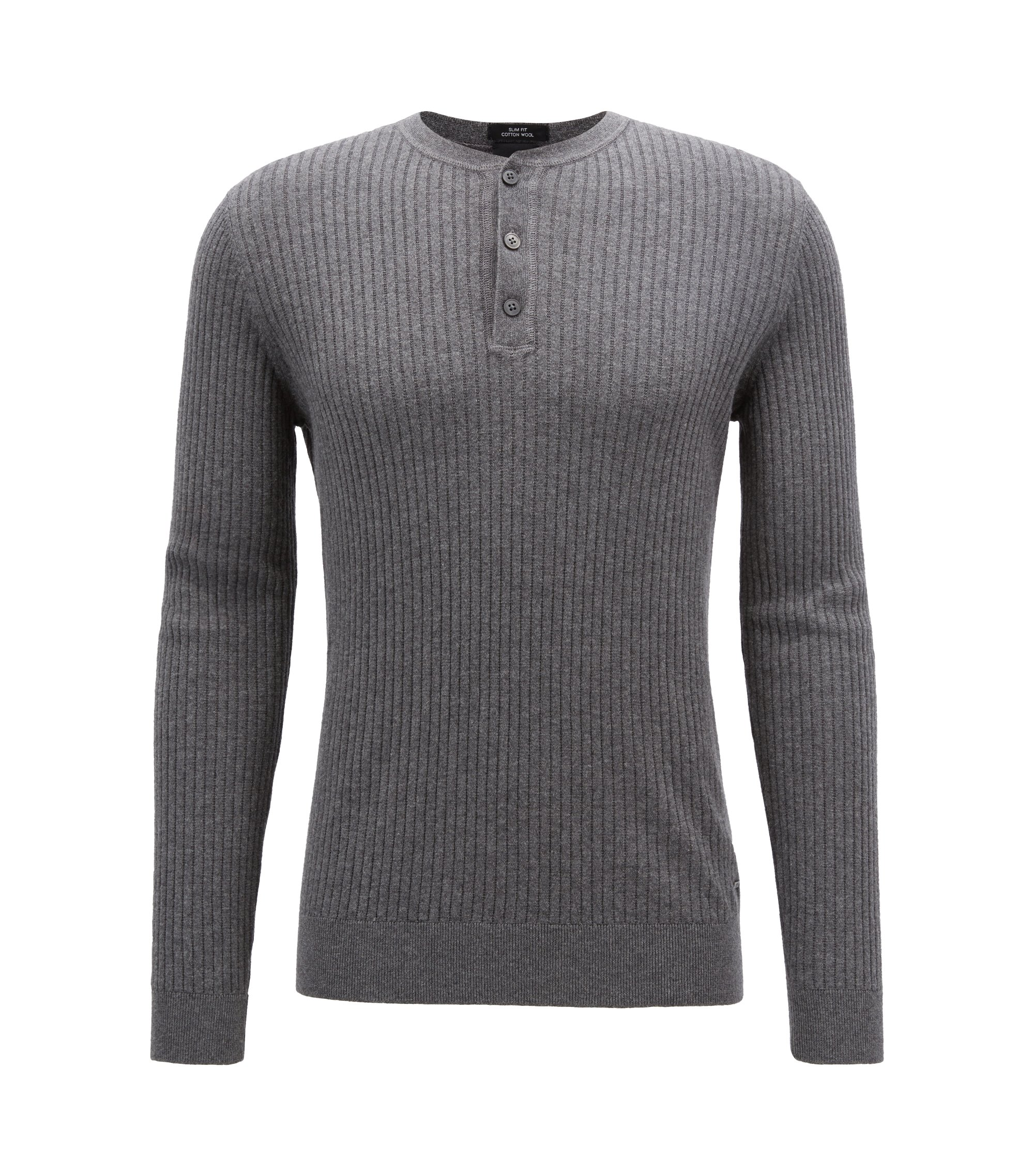 Slim-fit Henley sweater in a wool-cotton blend, Grey
