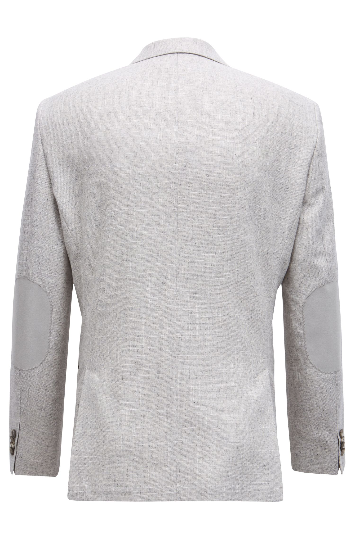 Regular-fit micro-patterned blazer with elbow patches, Silver