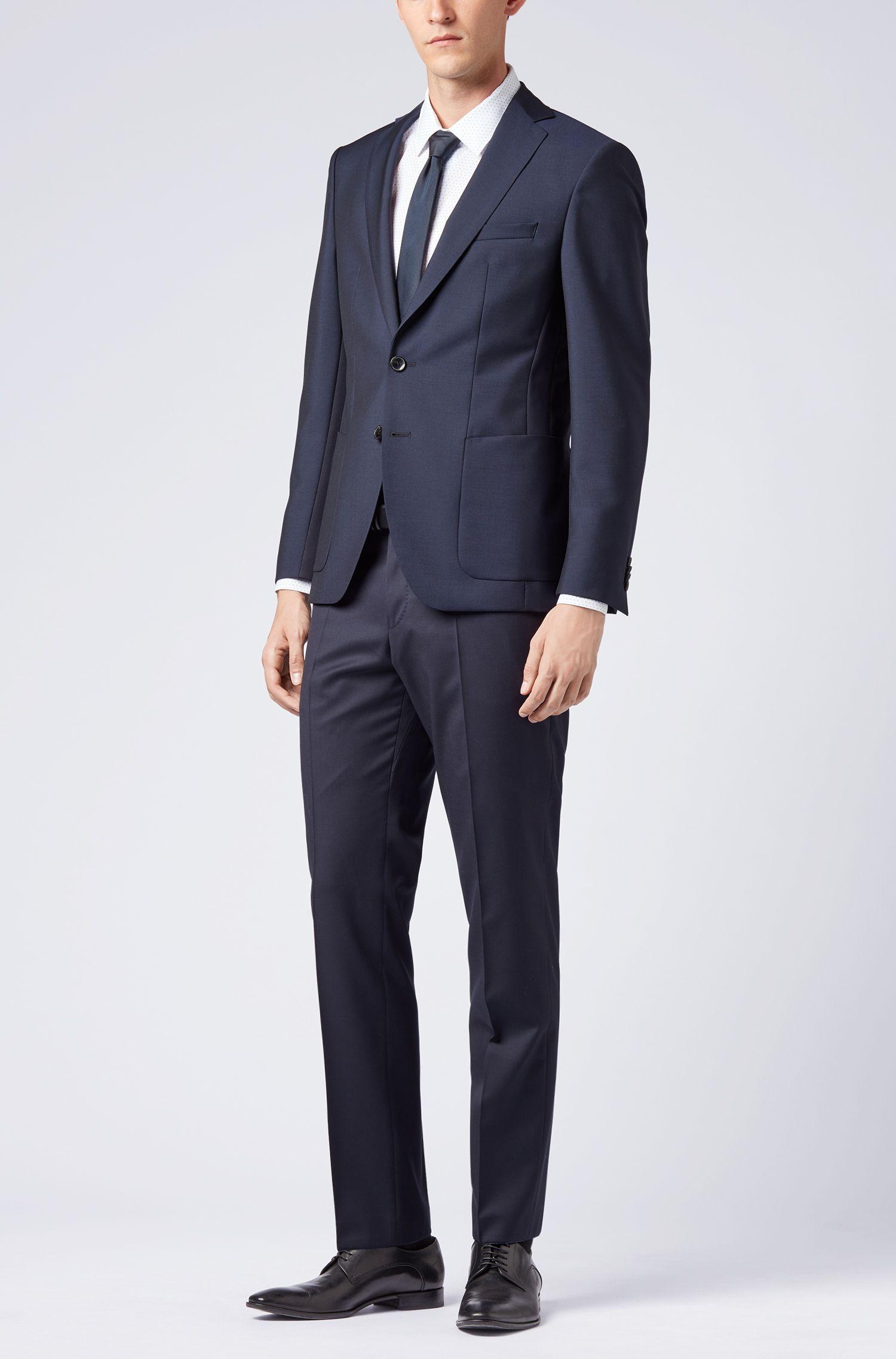 Extra-slim-fit blazer in virgin wool and mohair, Dark Blue