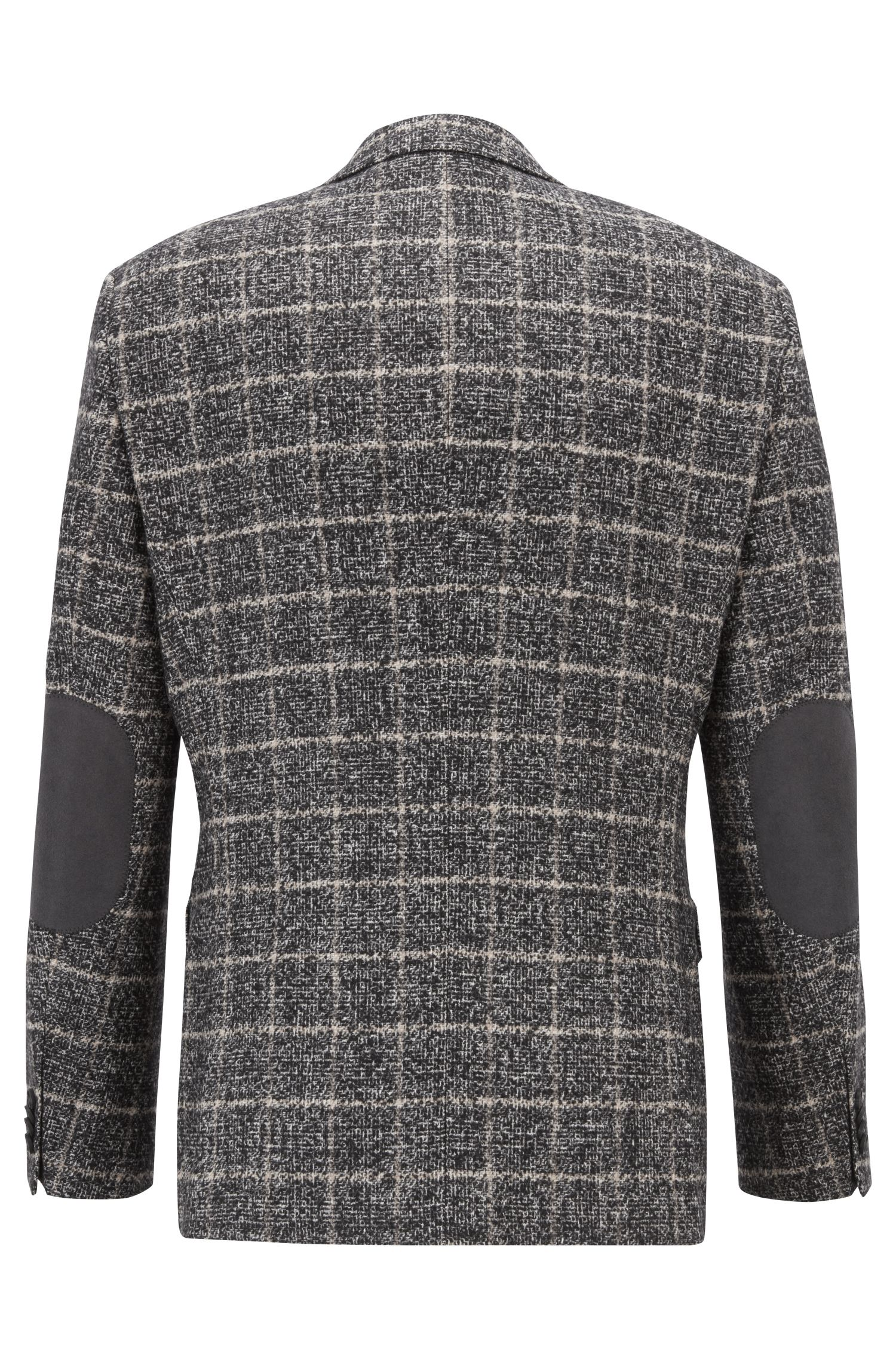 Plain-check blazer in blended fabric with elbow patches, Black