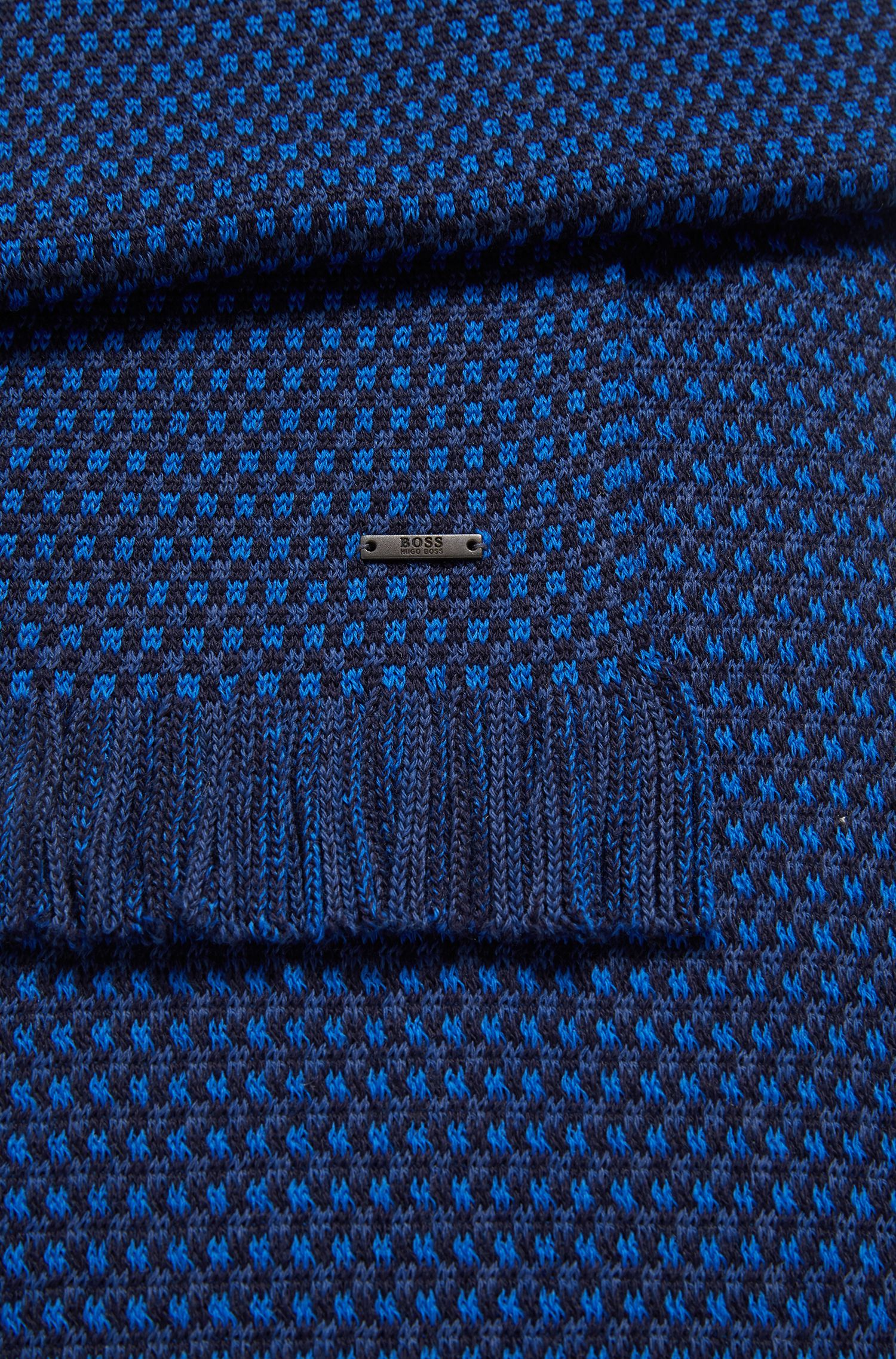 Fringed scarf in virgin wool with multicolored micro pattern, Blue