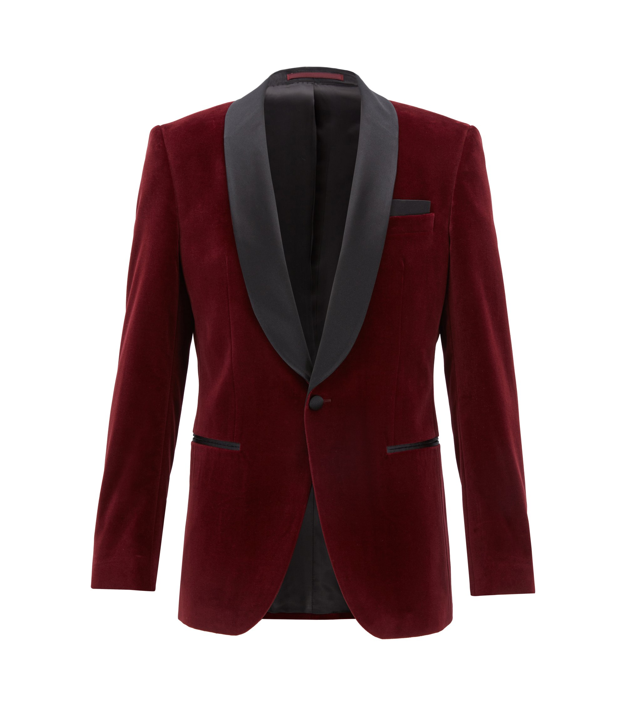 Slim-fit velvet dinner jacket with silk shawl lapels, Dark Purple