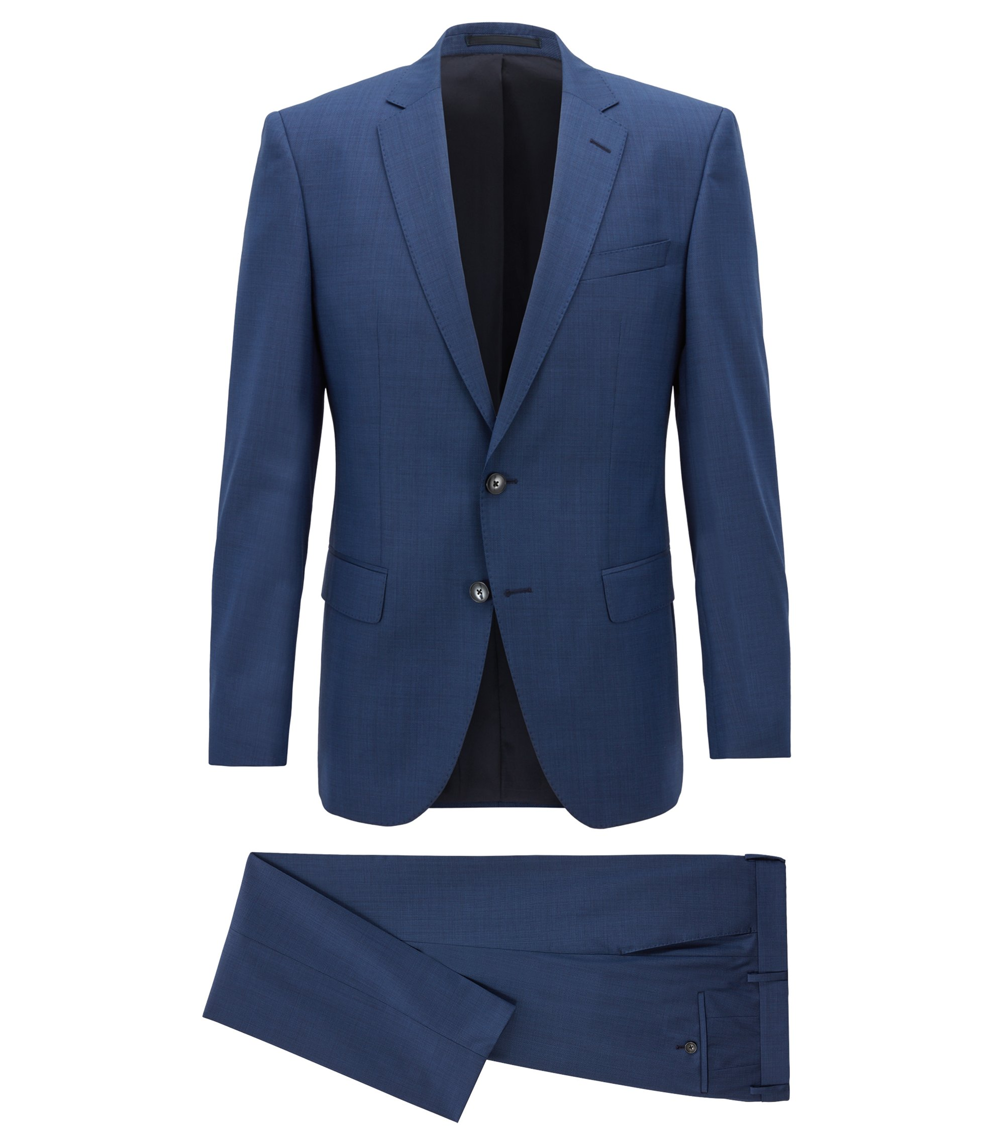 Slim-fit suit in melange virgin wool, Blue