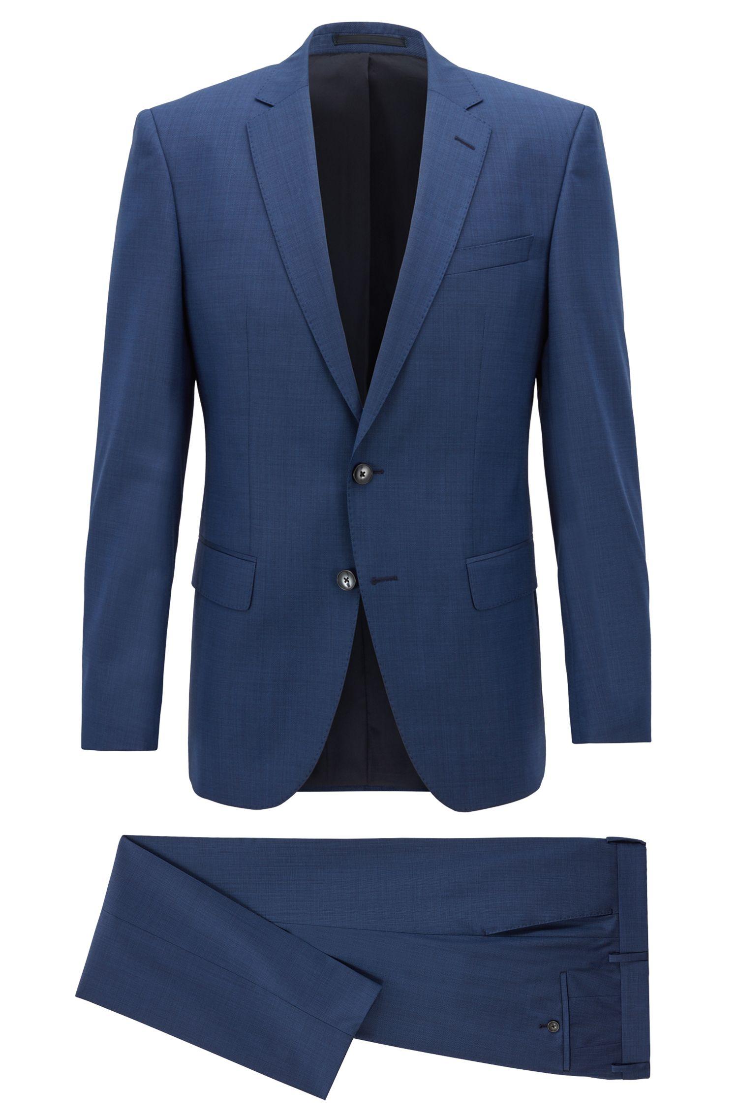Slim-fit suit in melange virgin wool, Blue