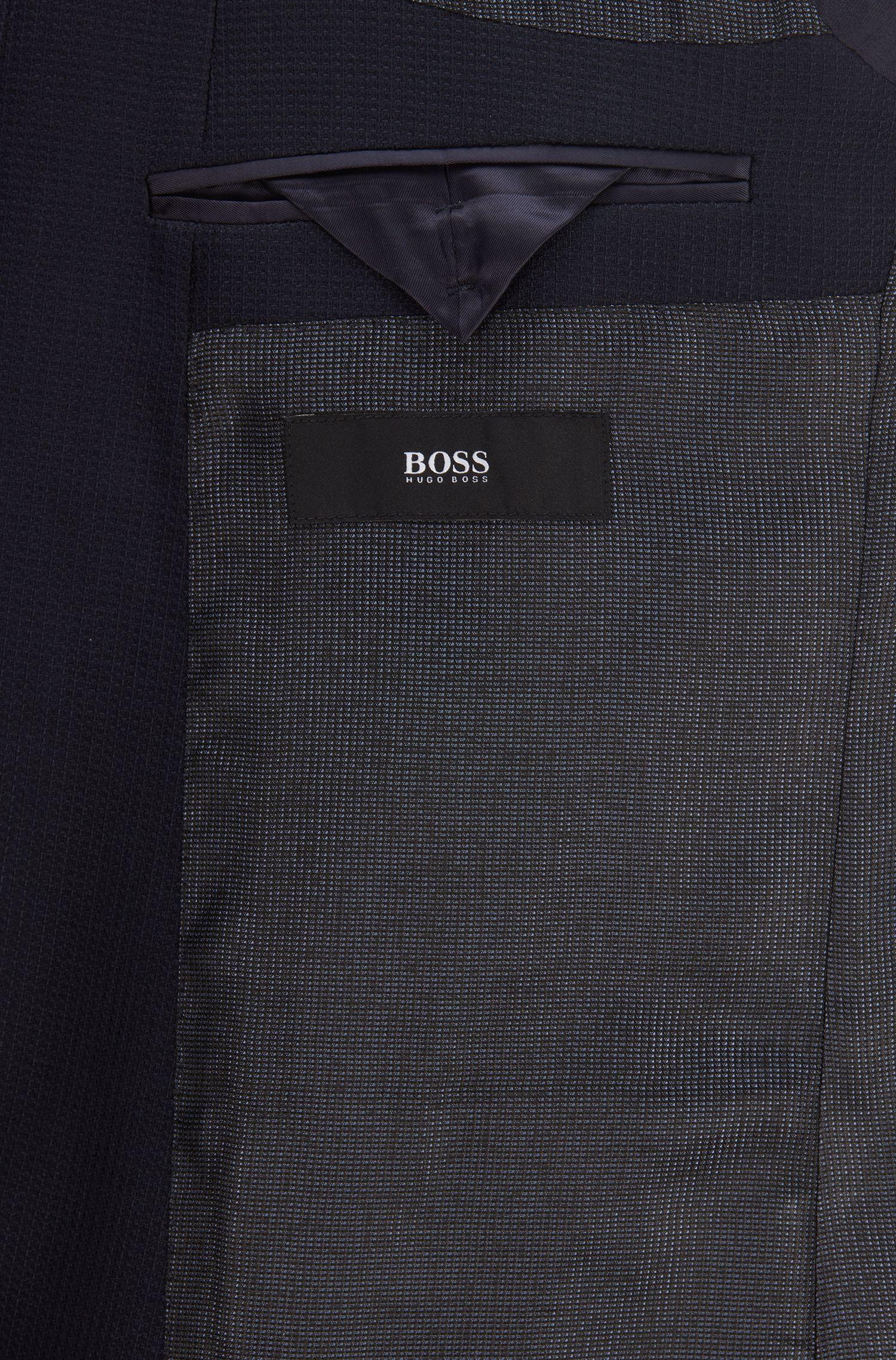 Slim-fit jacket in patterned virgin wool, Open Blue