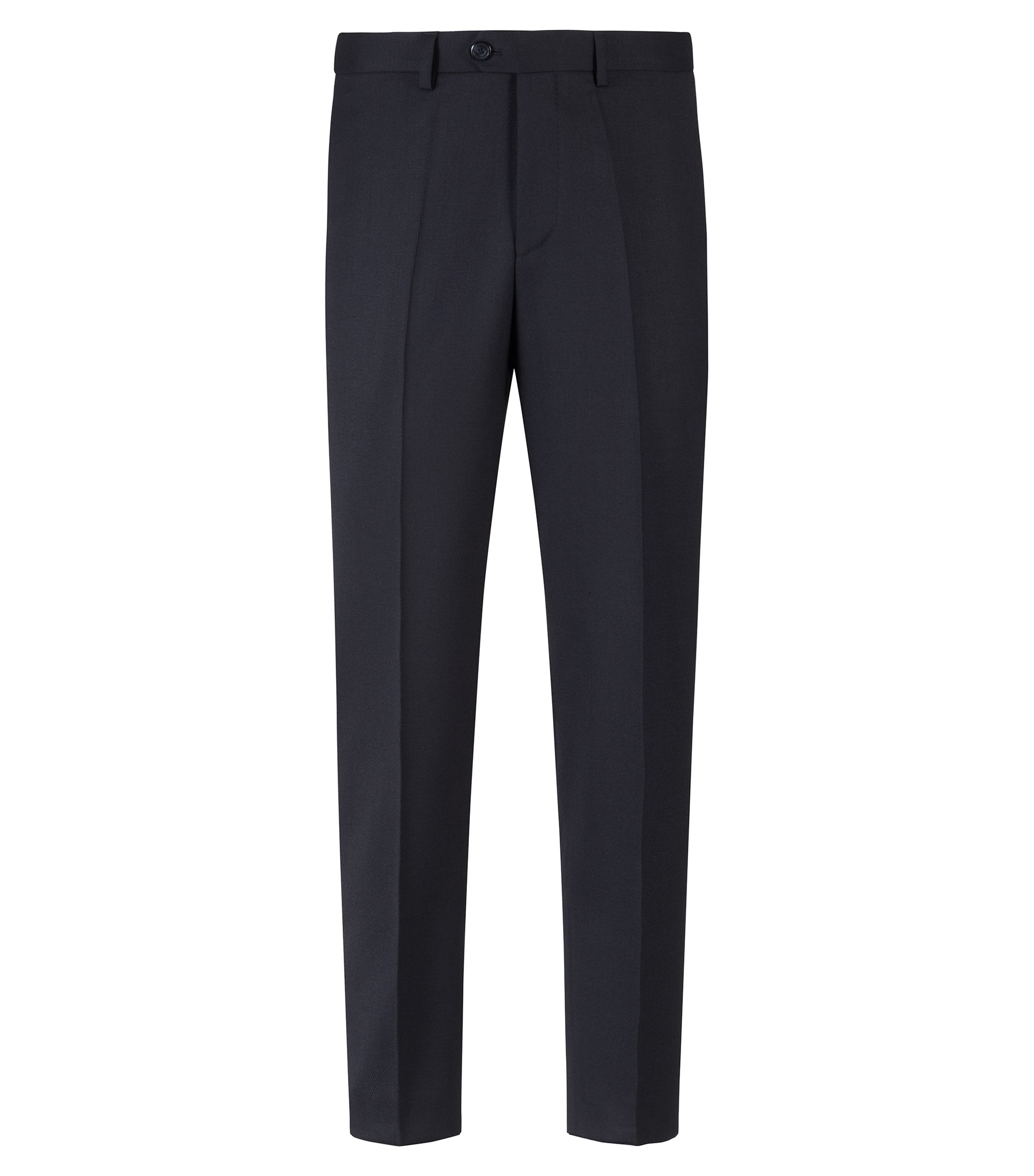 Tapered-fit pants in a structured stretch-wool blend, Dark Blue