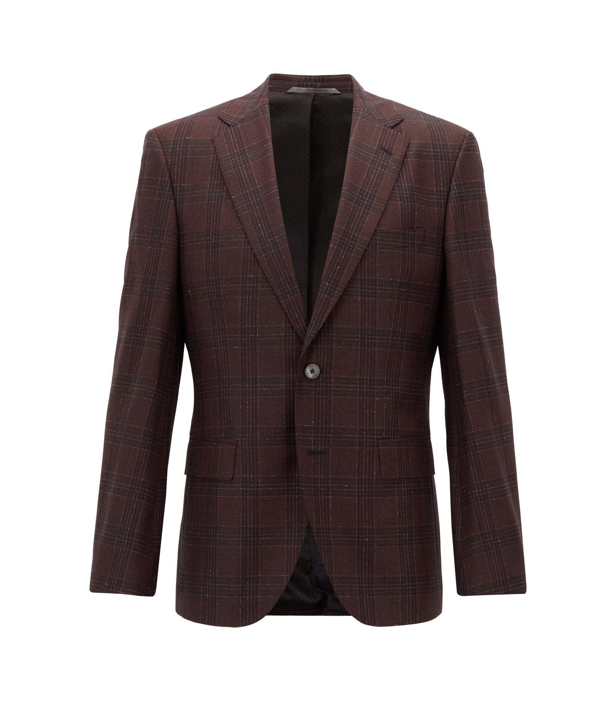 Regular-fit jacket in checkered virgin wool, Dark Red
