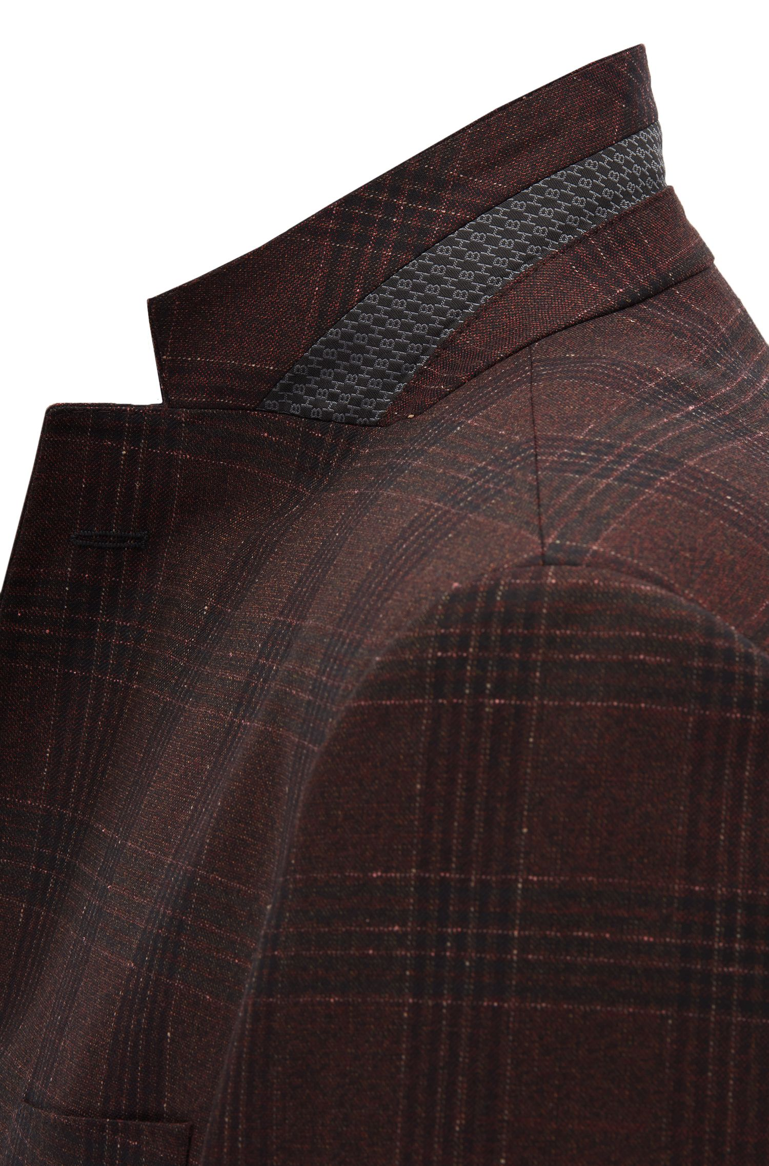 Regular-fit jacket in checkered virgin wool, Dark Red