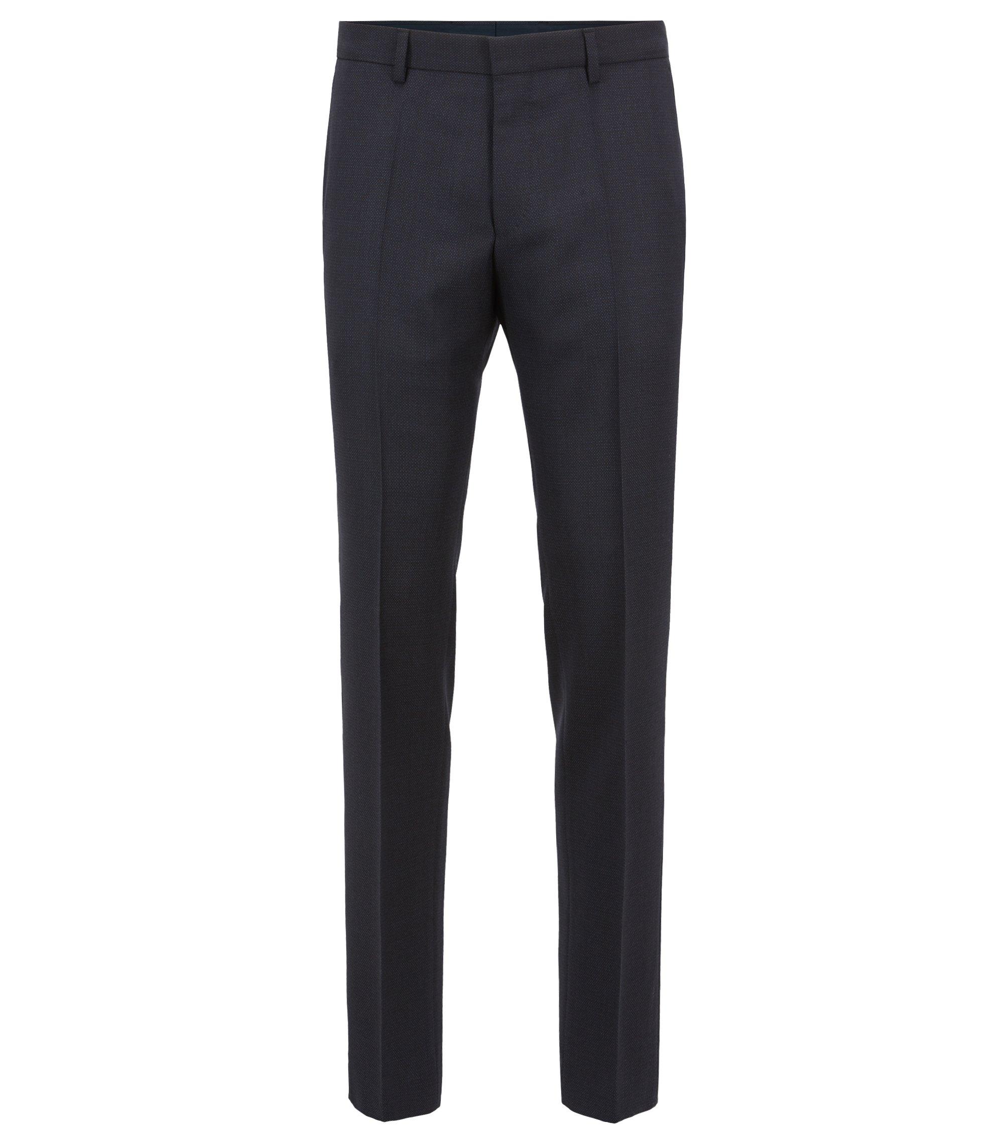 Slim-fit pants in patterned virgin wool, Open Blue