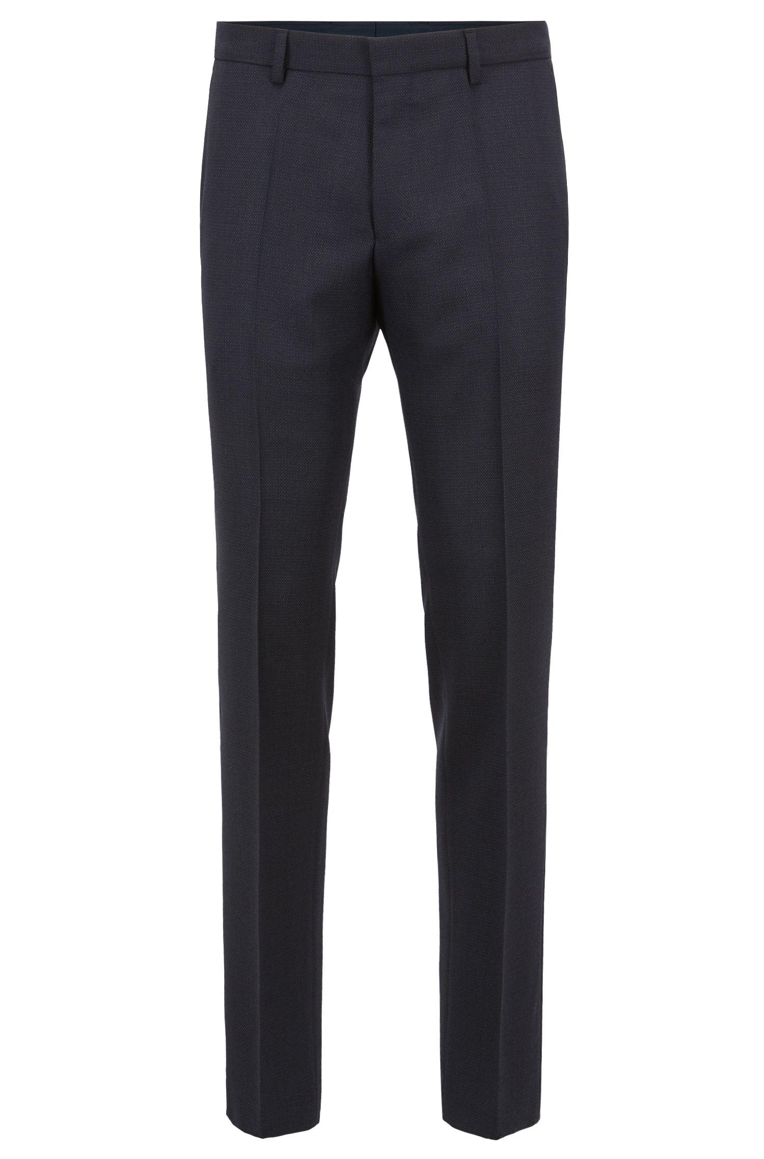Slim-fit pants in patterned virgin wool