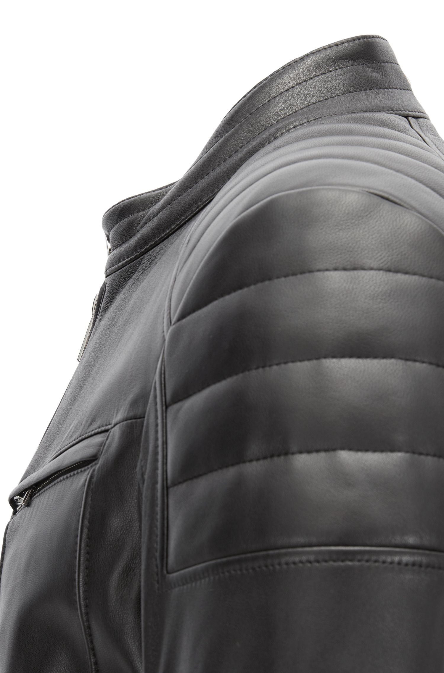 Regular-fit biker jacket in lambskin with padded detailing, Black