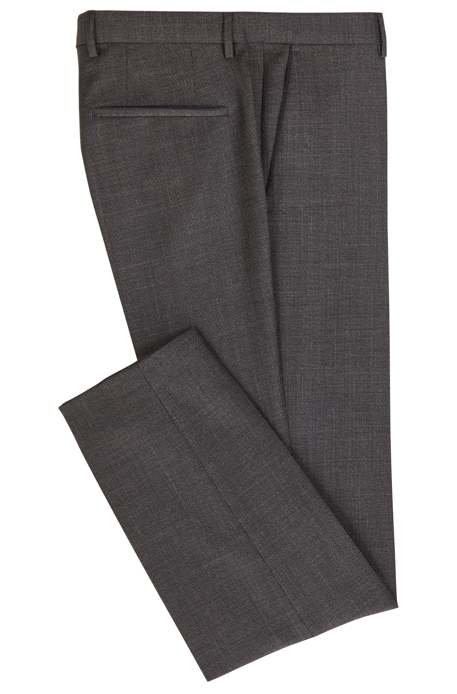 Slim-fit pants in patterned virgin wool, Open Green