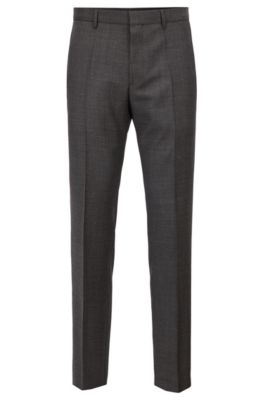 Slim Fit Pants In Patterned Virgin Wool by Boss