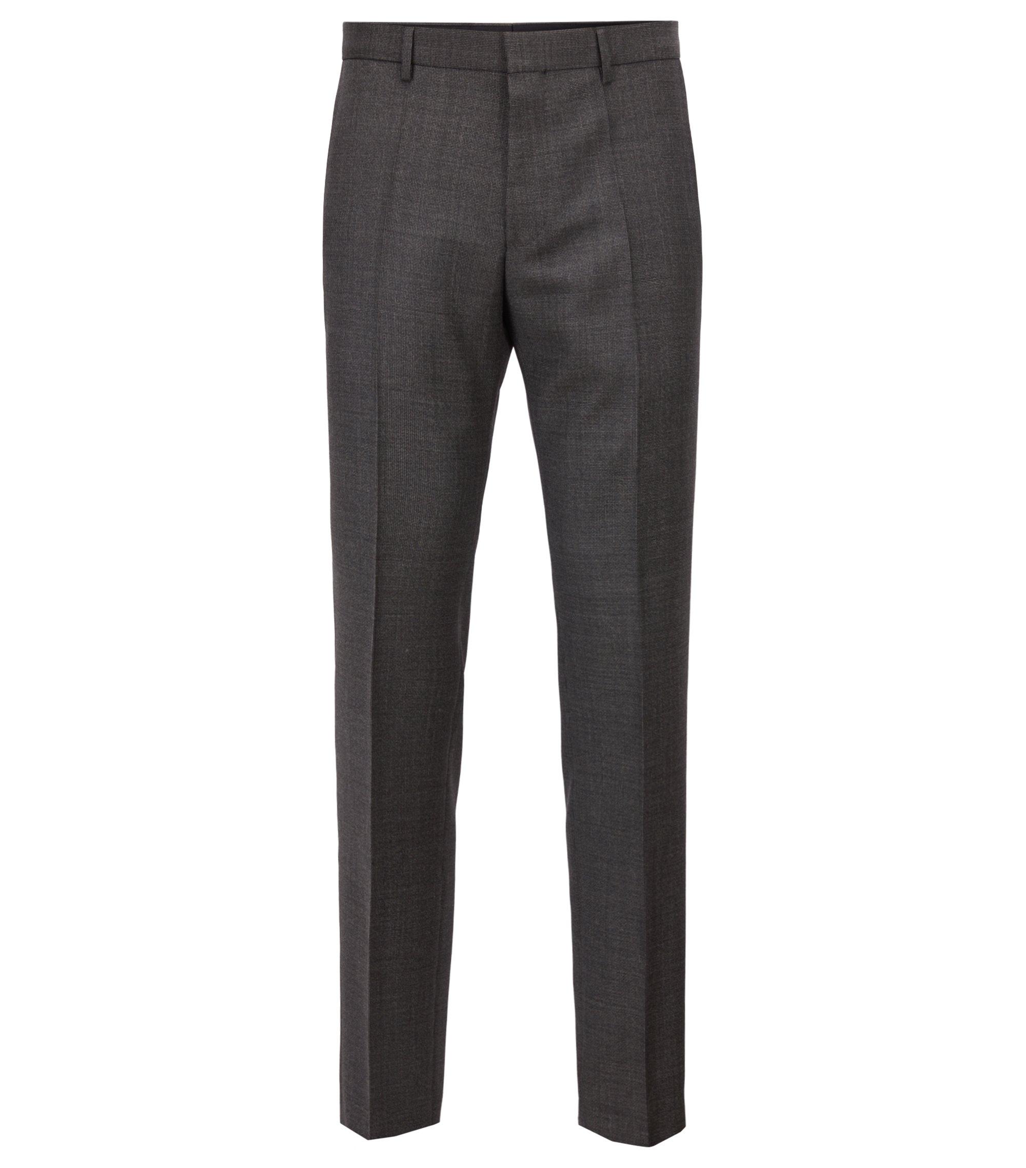 Slim-fit pants in patterned virgin wool, Open Green