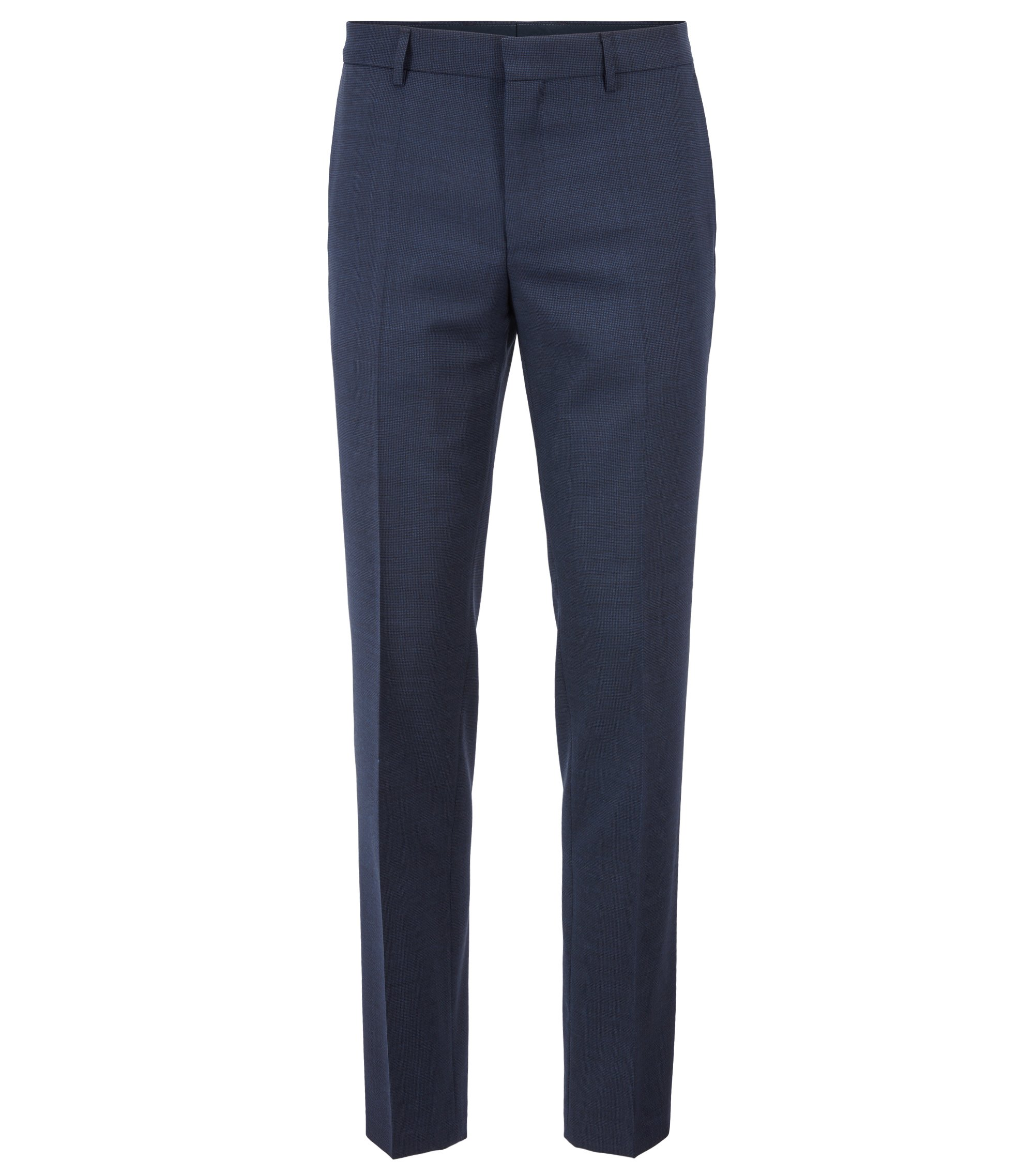 Slim-fit pants in patterned virgin wool, Dark Blue