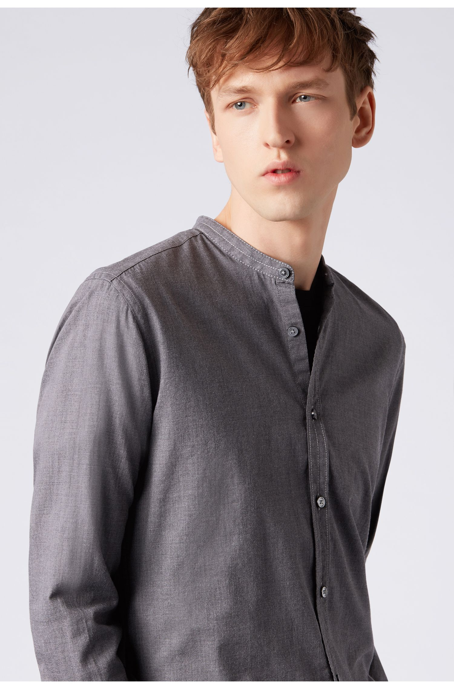 Slim-fit collarless shirt in flannel cotton, Open Grey