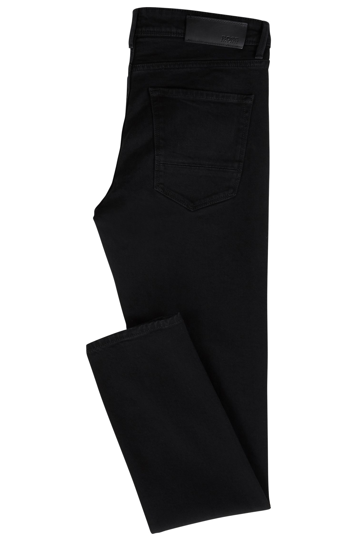 Extra-slim-fit black jeans in Italian stretch denim, Black