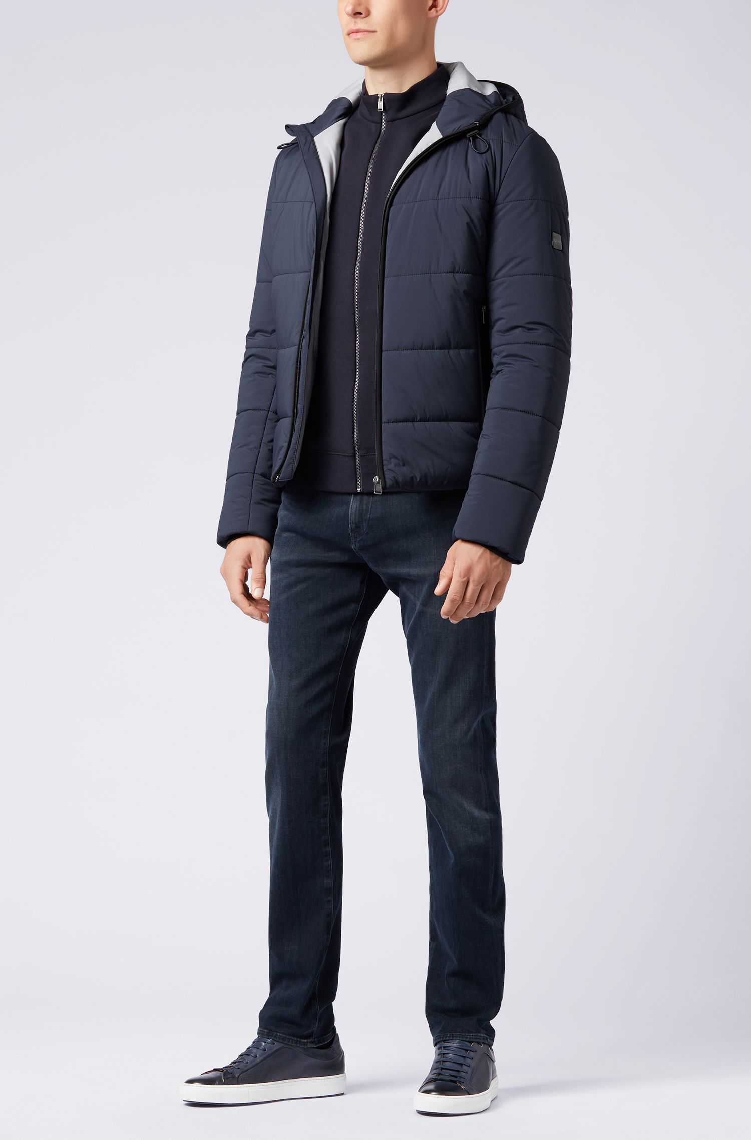 Slim-fit jeans in Italian left-hand stretch denim, Dark Blue