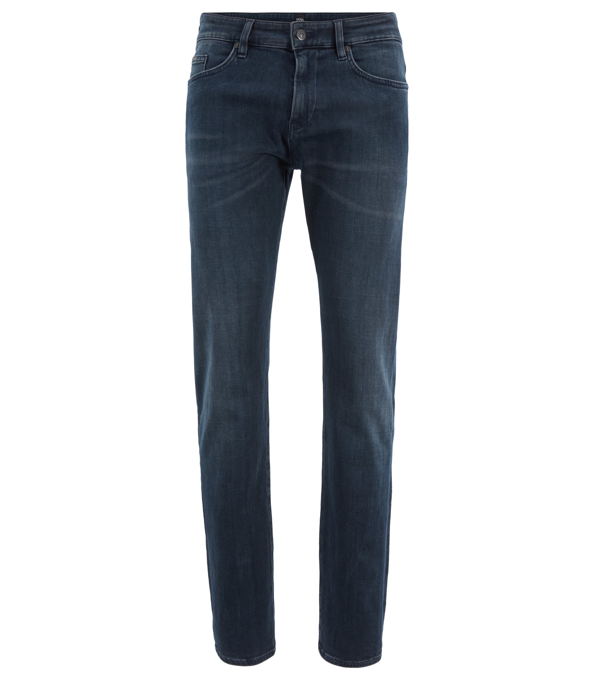 Slim-fit jeans in Italian left-hand stretch denim, Dark Blue