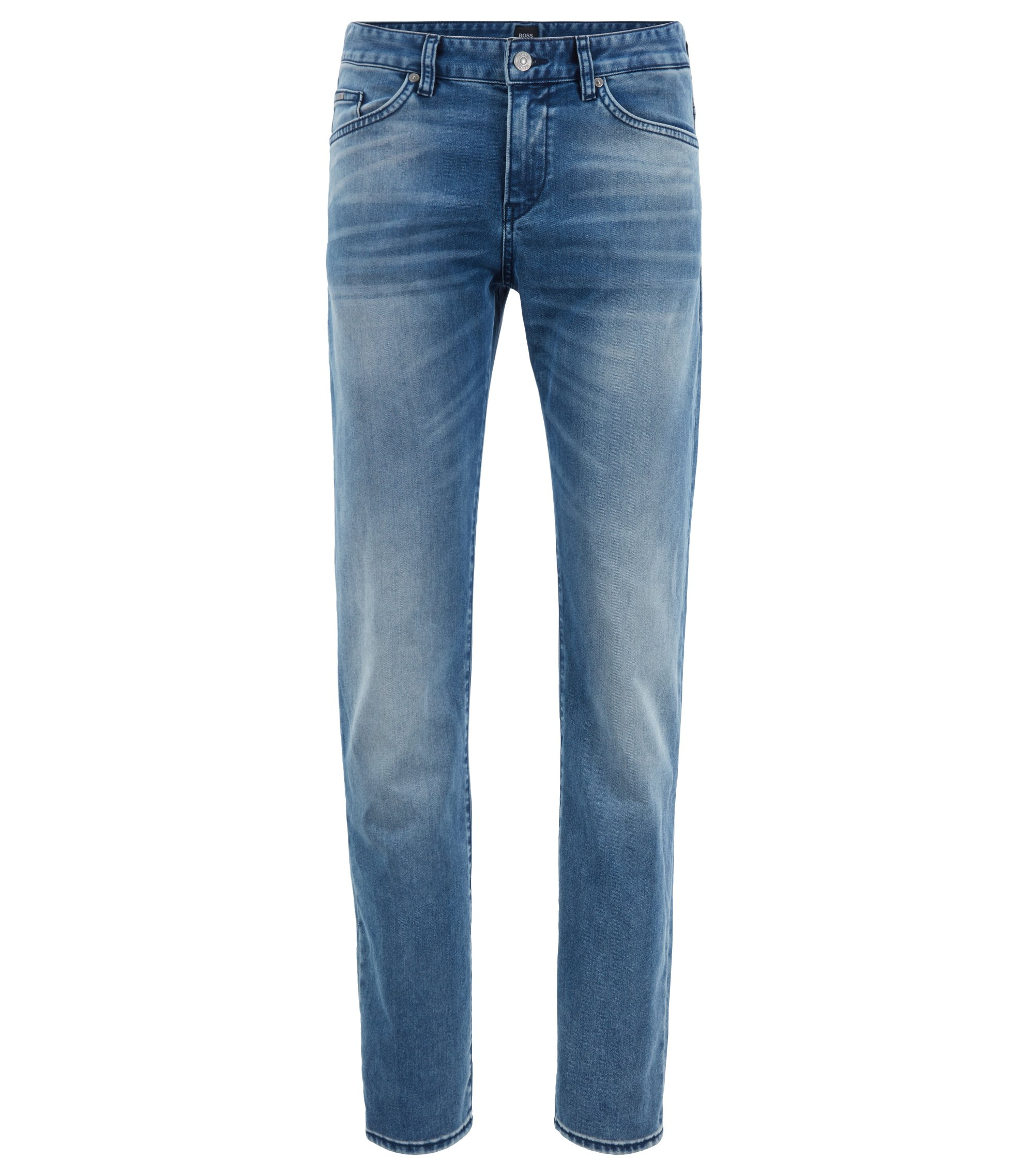 Slim-fit jeans in washed Italian stretch denim, Blue