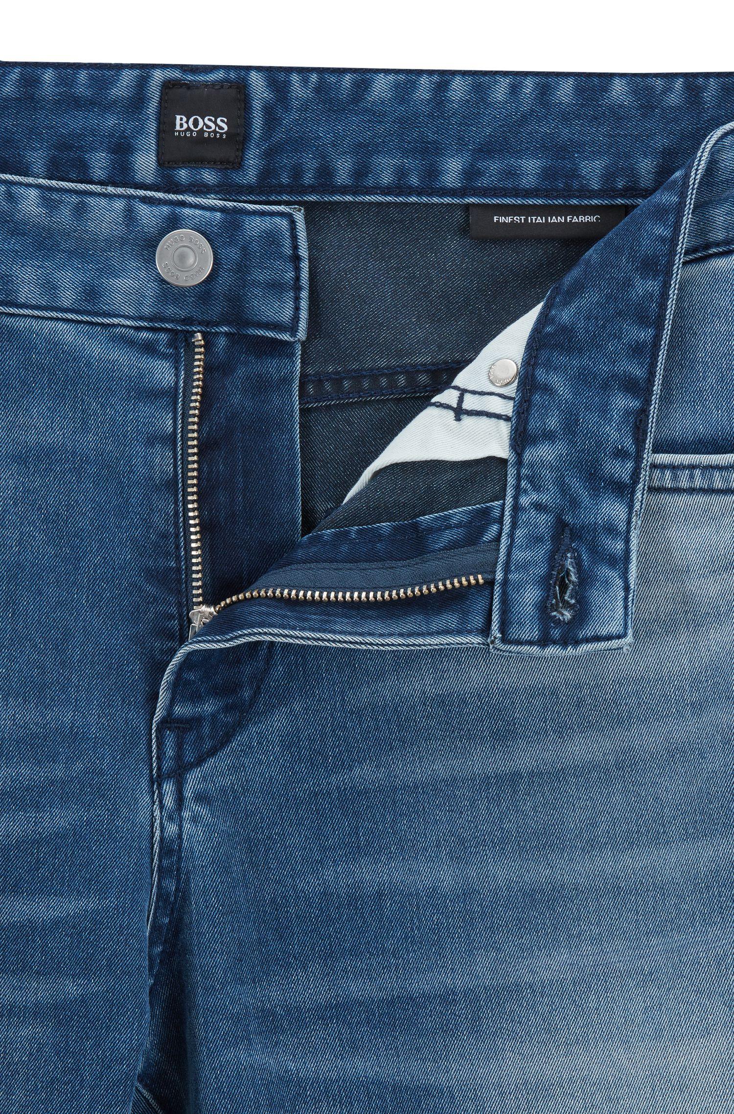 Slim-fit jeans in washed Italian stretch denim, Blue