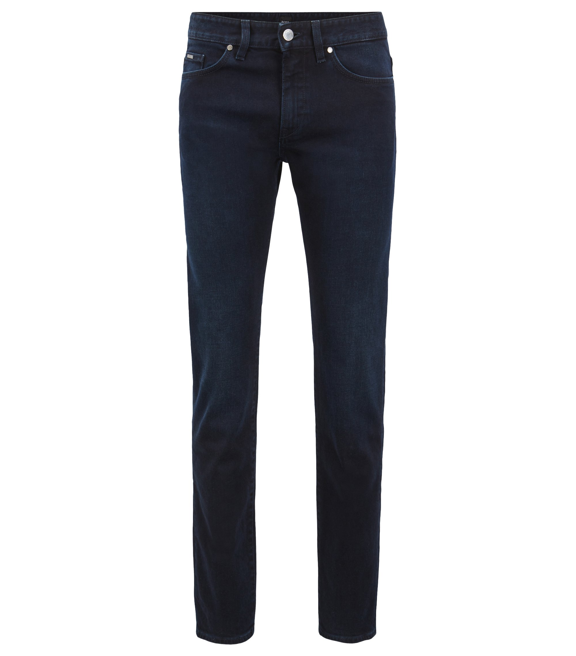 Slim-fit jeans in blue-black stretch denim, Dark Blue