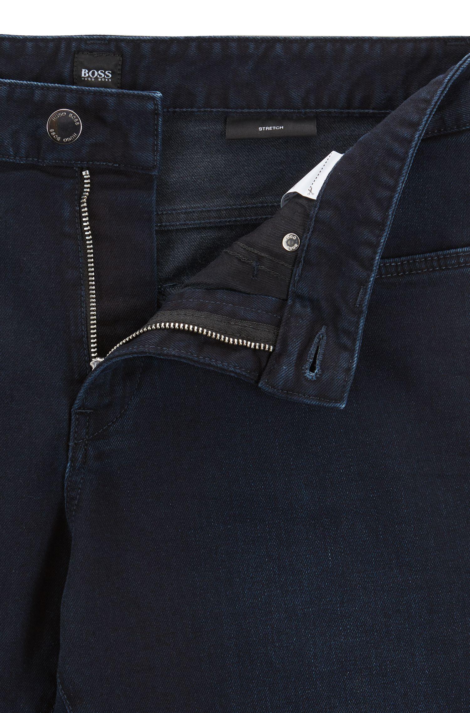 Slim-fit jeans in blue-black stretch denim, Dark Blue