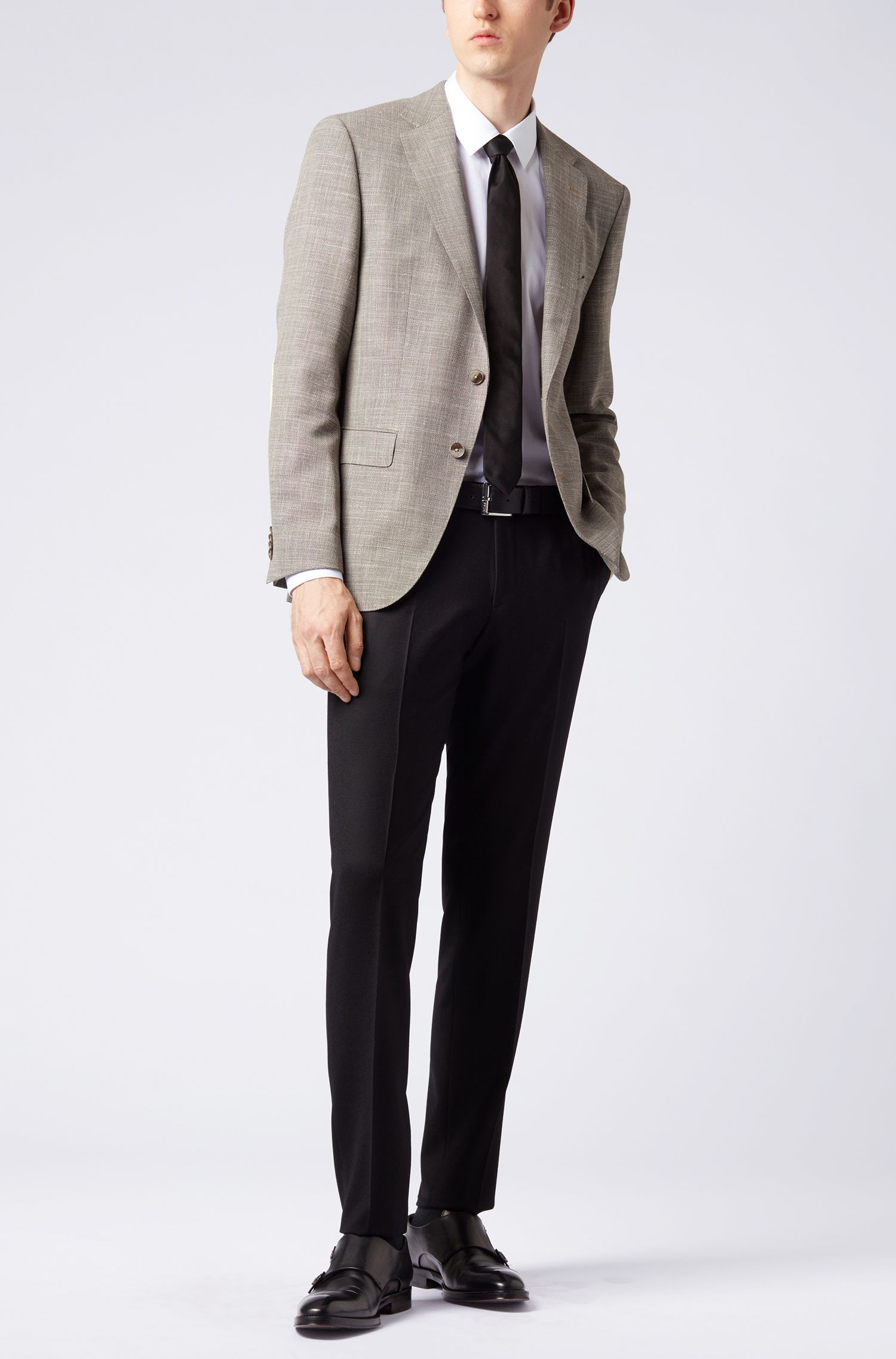 Extra-slim-fit virgin-wool pants with waistband extension, Black