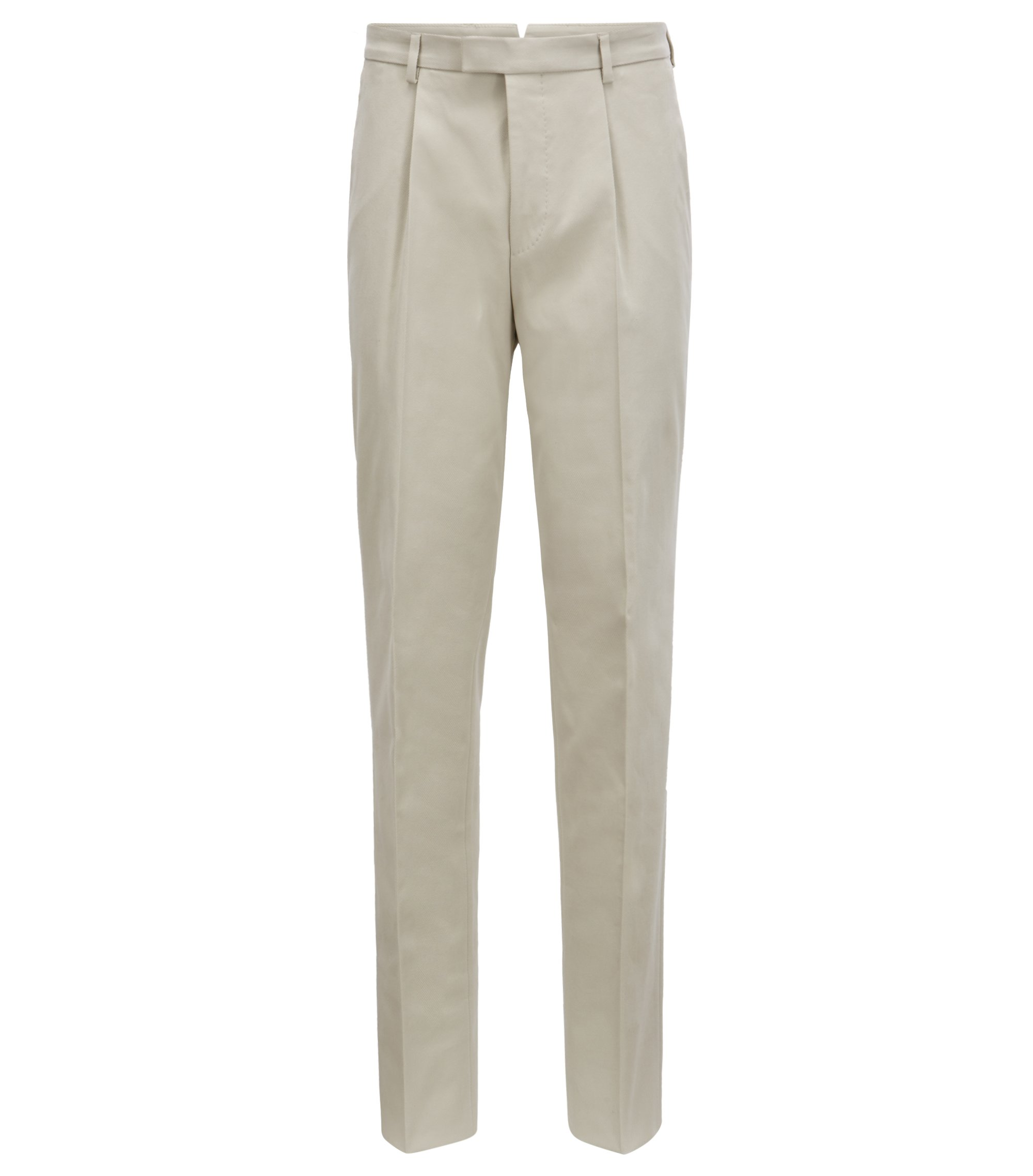 Slim-fit pleat-front pants in stretch-cotton twill, Light Beige