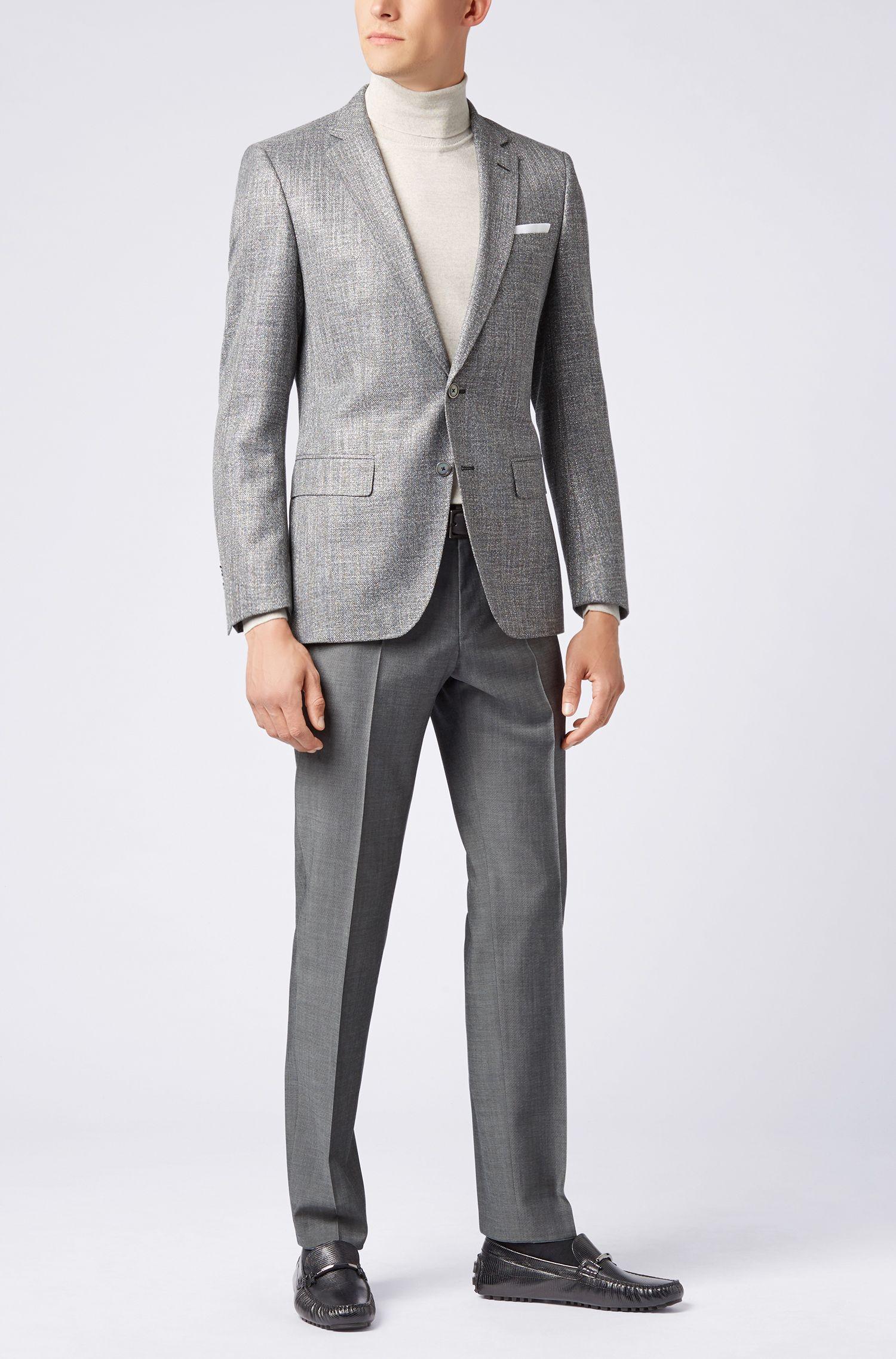 Slim-fit pants in mohair-look virgin wool, Grey