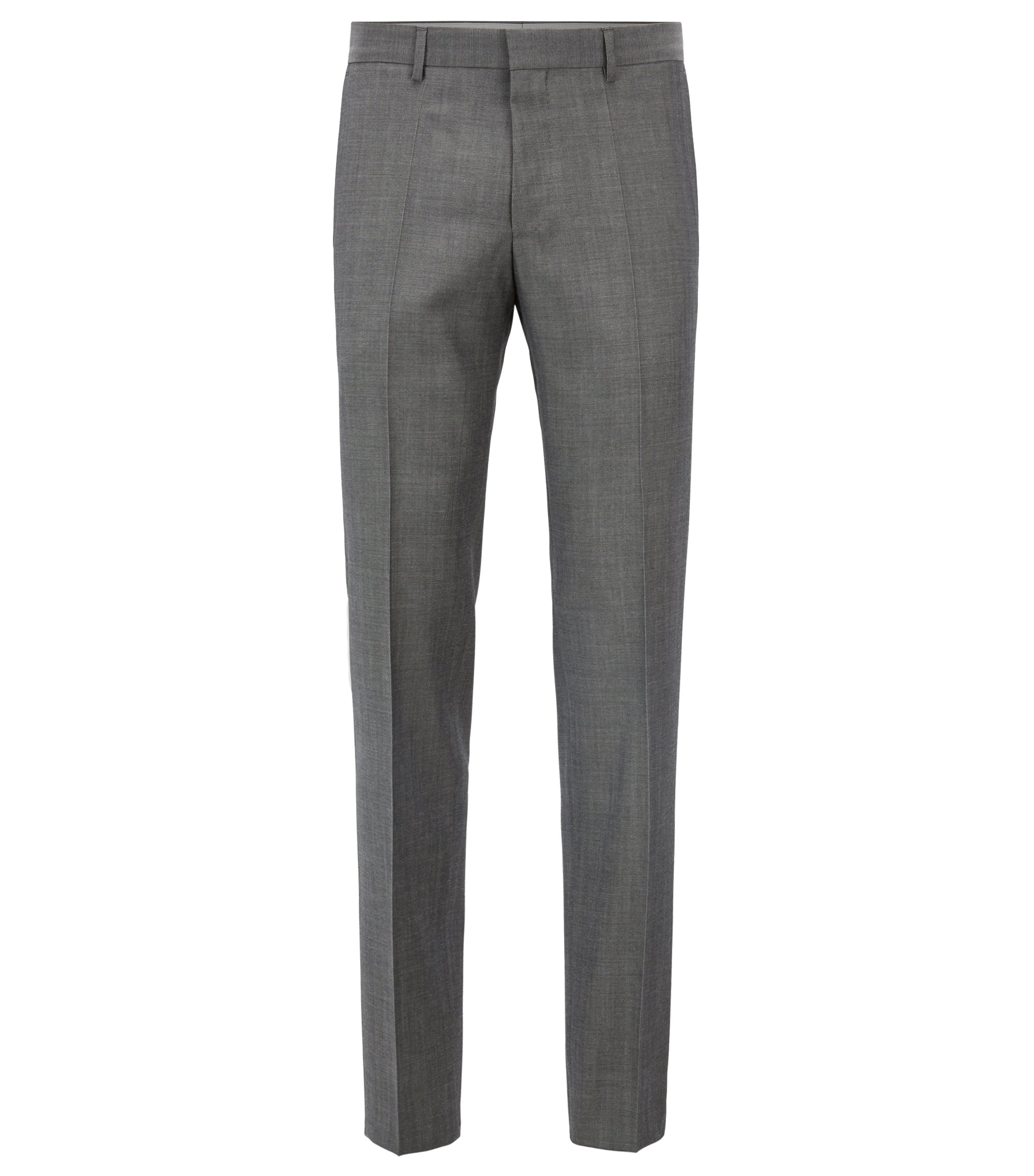 Slim-fit pants in mohair-look virgin wool, Grey