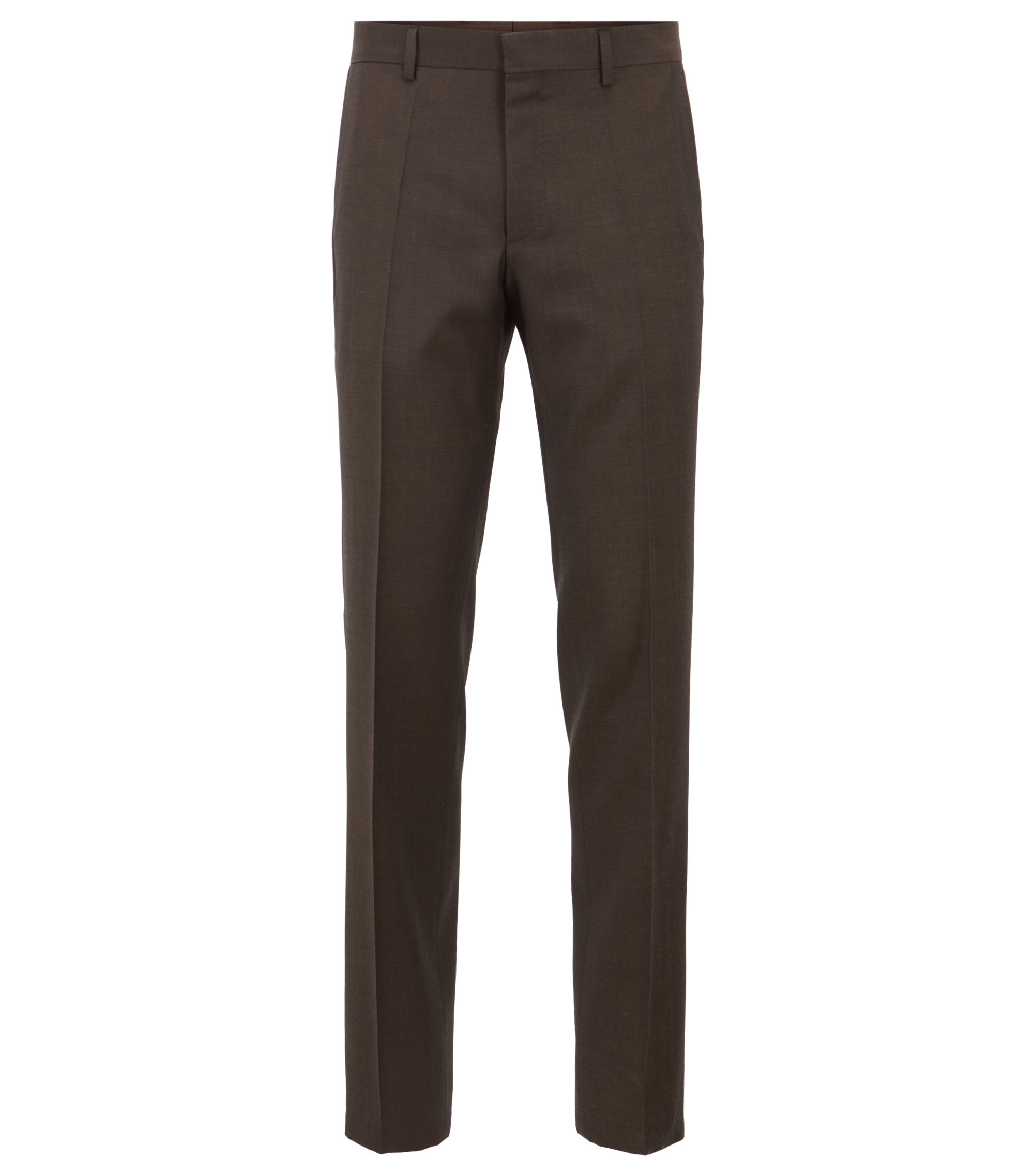 Slim-fit pants in mohair-look virgin wool, Dark Brown