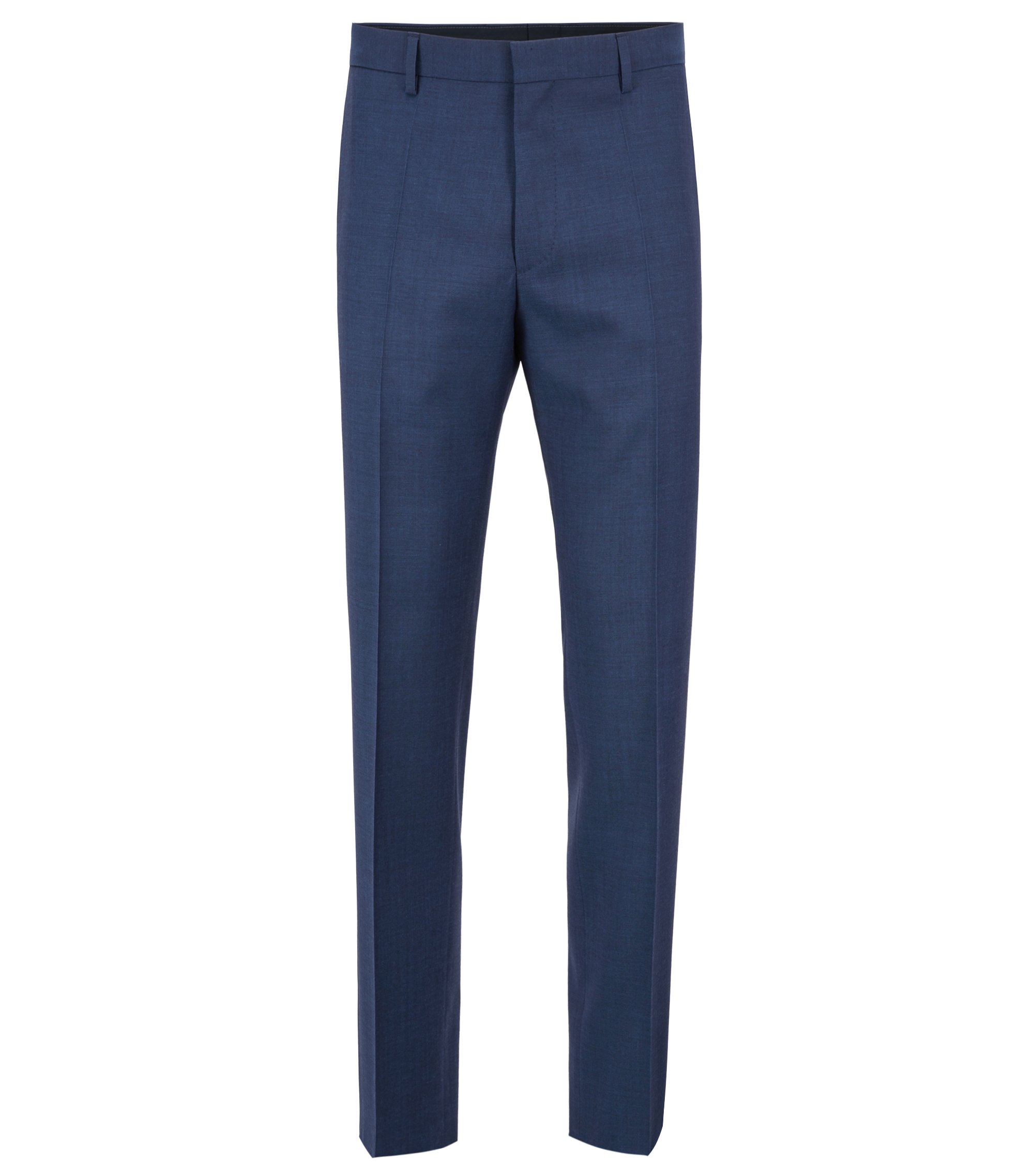 Slim-fit pants in mohair-look virgin wool, Open Blue