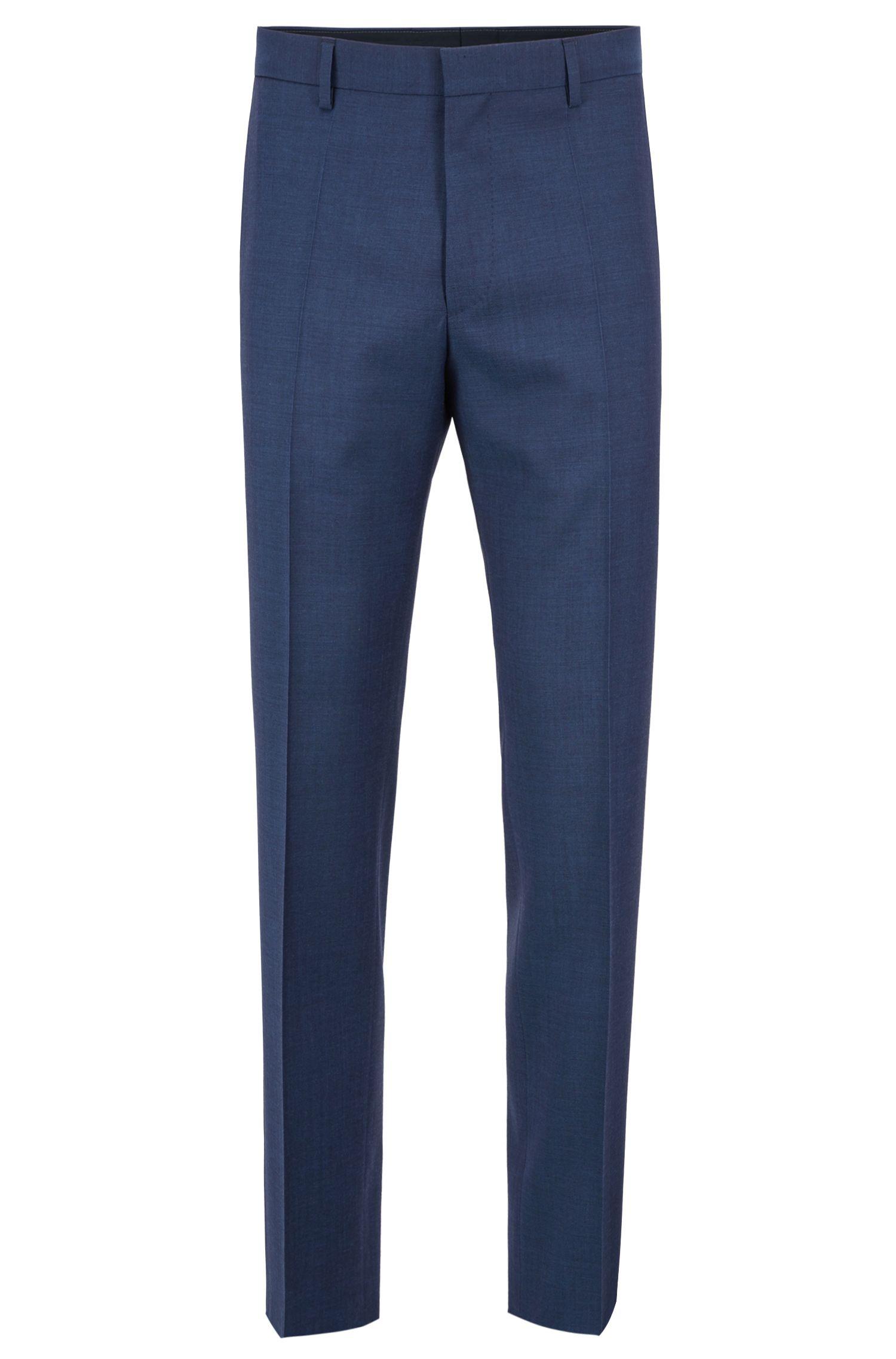 Slim-fit pants in mohair-look virgin wool, Open Blue