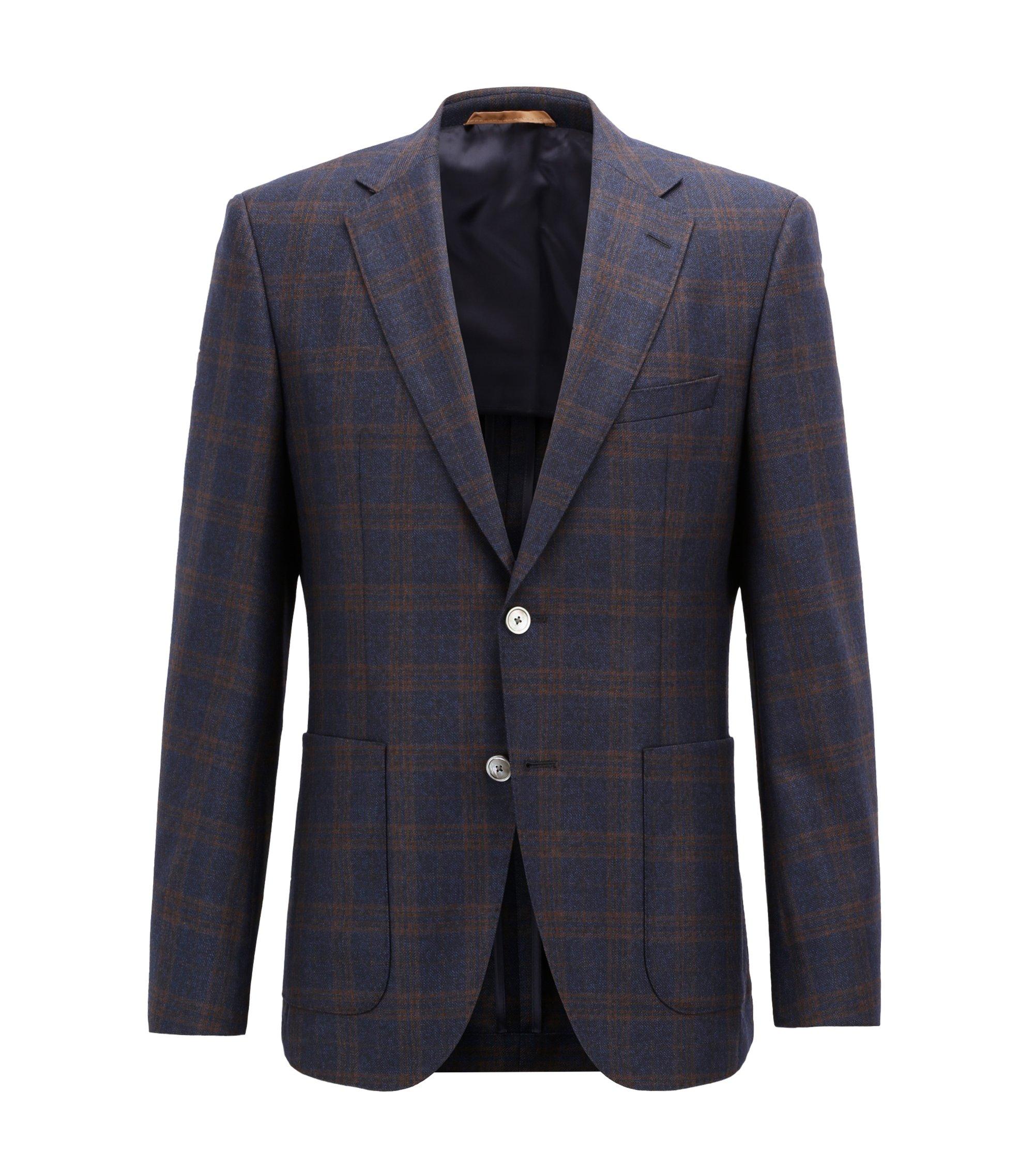 Regular-fit tailored jacket in checkered virgin wool, Dark Blue