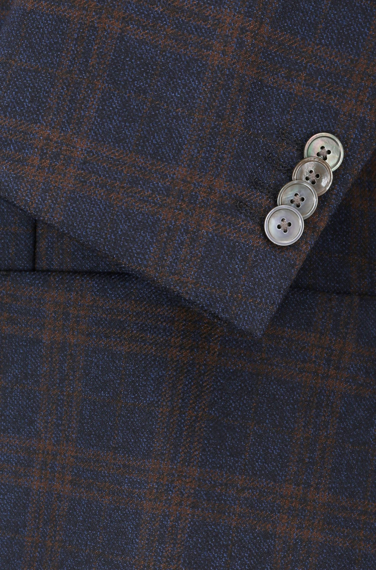 Regular-fit tailored jacket in checkered virgin wool, Dark Blue