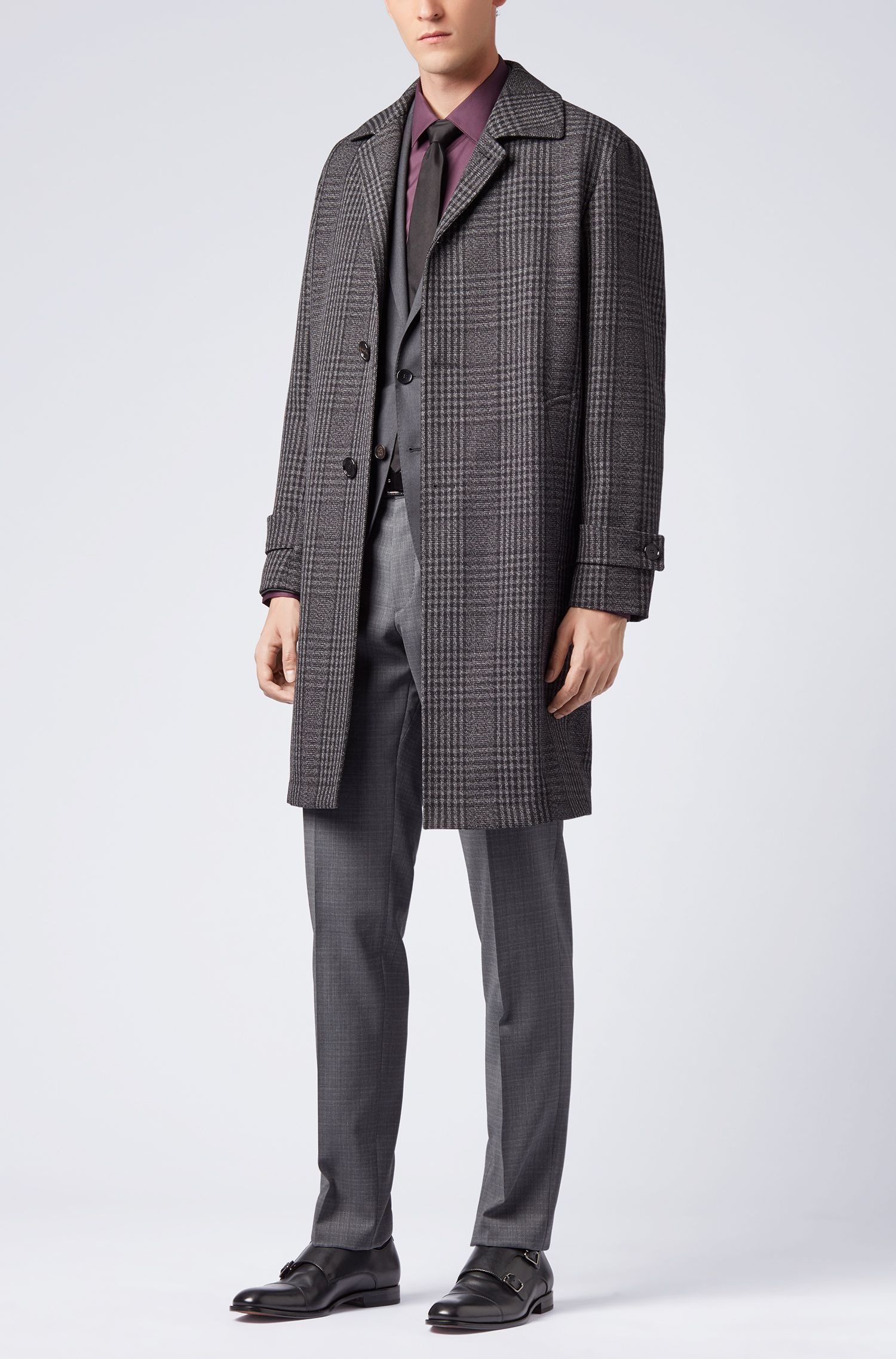 Slim-fit pants in patterned virgin wool serge, Grey