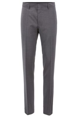 Slim Fit Pants In Patterned Virgin Wool Serge by Boss