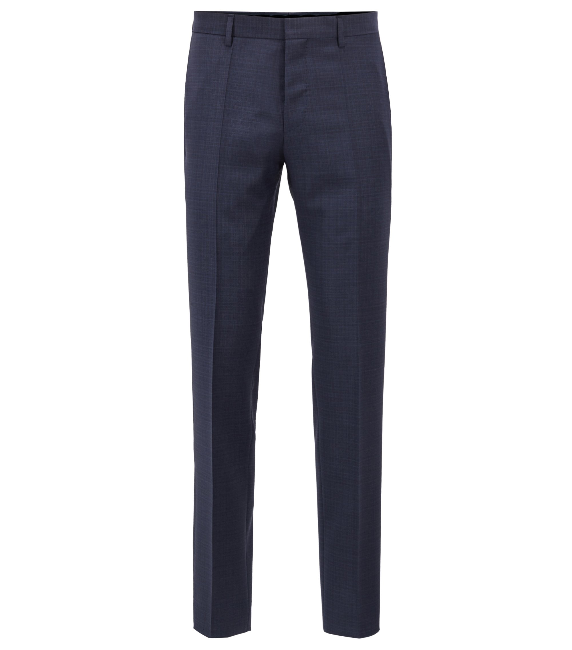 Slim-fit pants in patterned virgin wool serge, Dark Blue